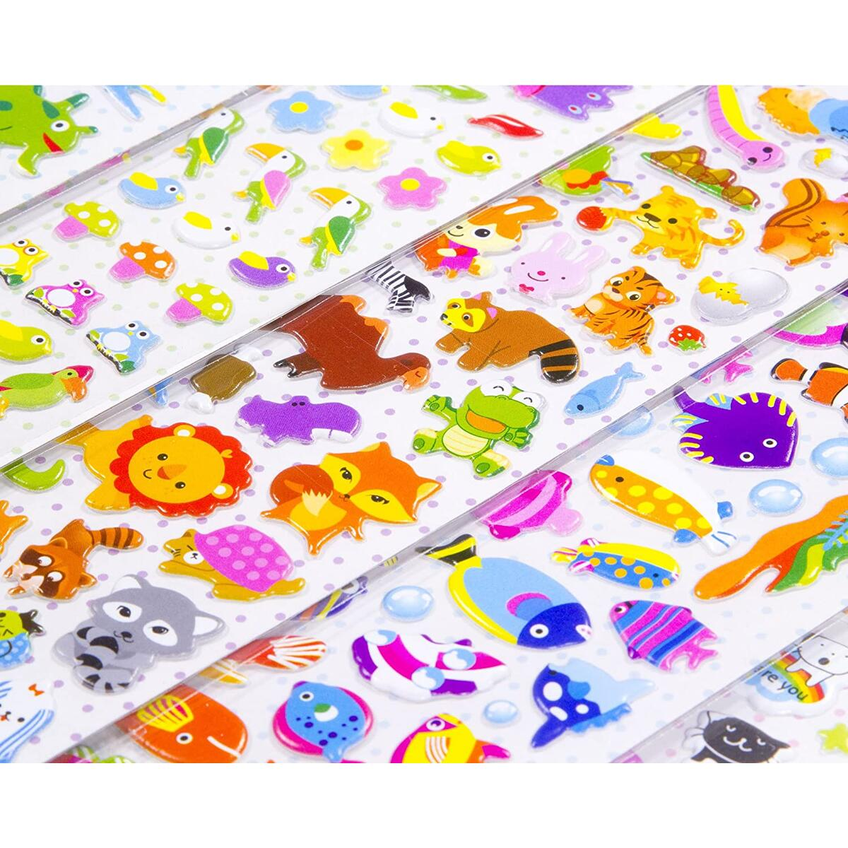 Stickers for Kids - 1200+ 3D Puffy Stickers for Toddlers Children Teachers School Projects 20 Different Sticker Sheets