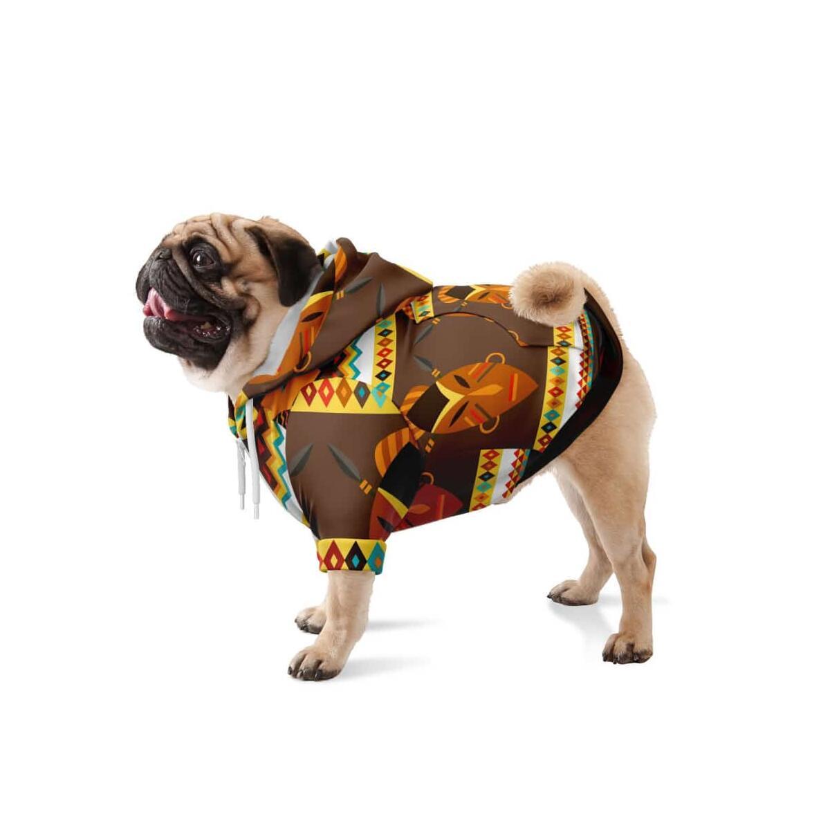 African Djembe Masks Dog Zip-Up Hoodie, S