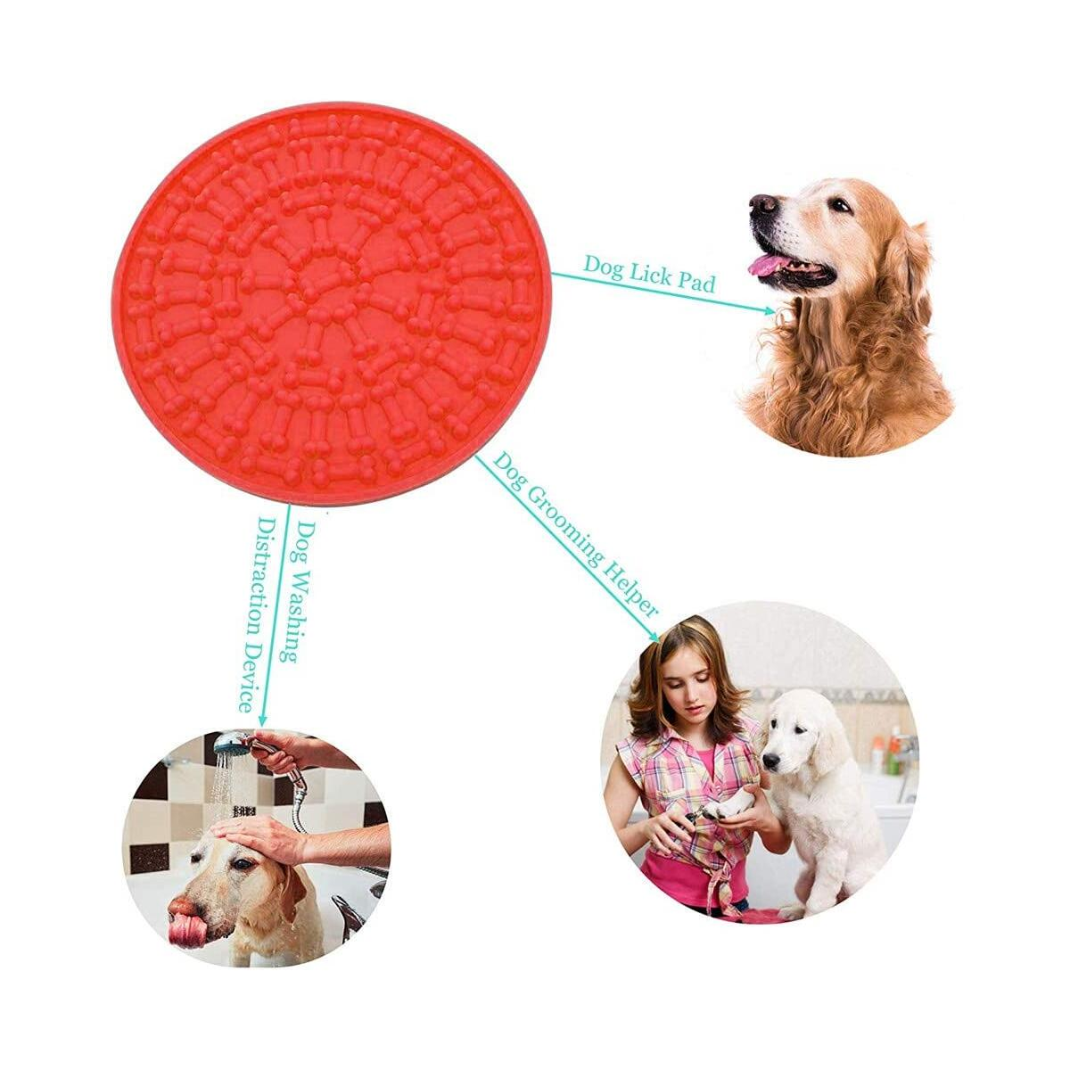 EMPOROI Pet Slow Food Mat Dog Bath Peanut Butter Licking Pad with Food Grade Silicone Dog Lick Mat