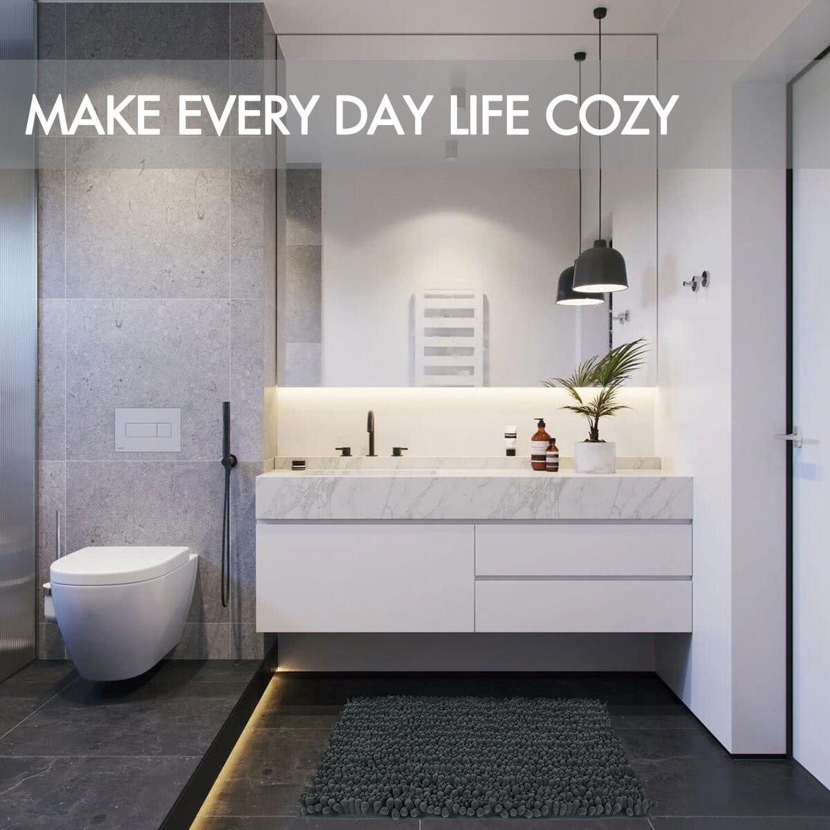 JTdiffer Bath Rugs Non Slip Super Absorbent Chenille Bath Mat, Soft Bathroom Rug Carpet, Extra Shaggy for Tub, Shower, Bath Room, Bedroom, Kitchen, Sink (17x24, Dark Grey)