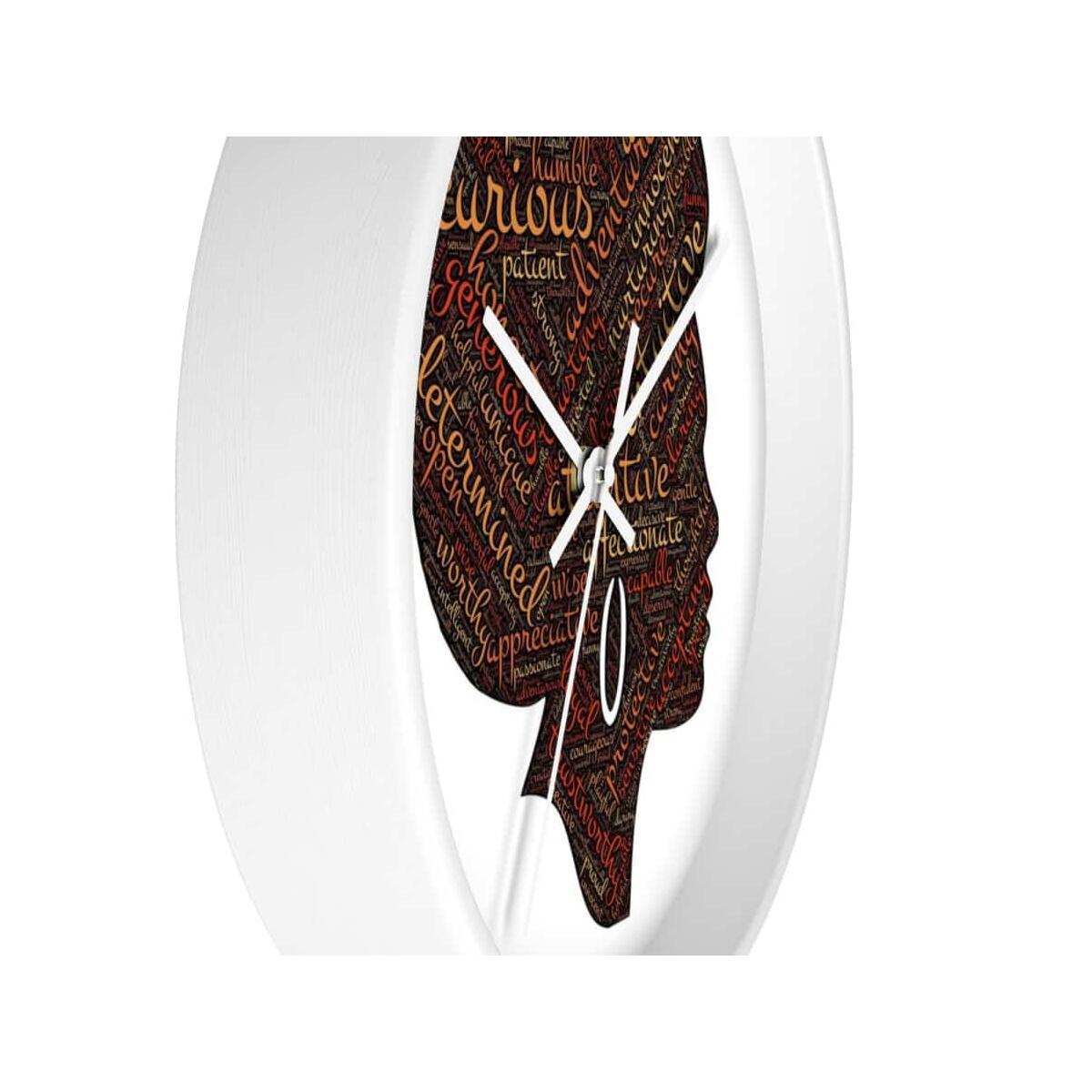 Modern Afro Queen Wall Clock, 10 in / Black / Black