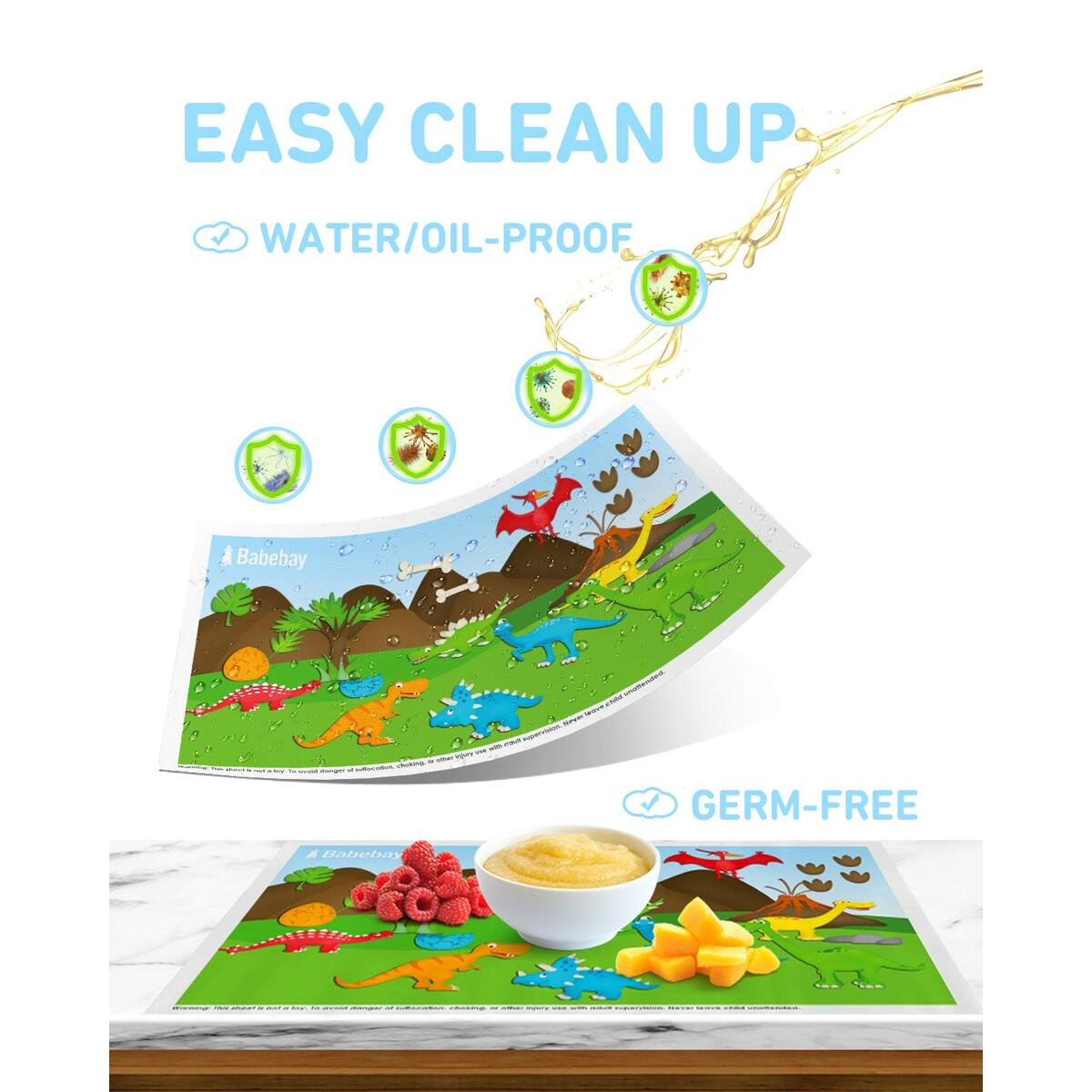 Babebay Disposable Placemats Stick-on for Baby & Kids Table Topper Disposable Food Grade Plastic Adhesive Mat 40 Packs 12