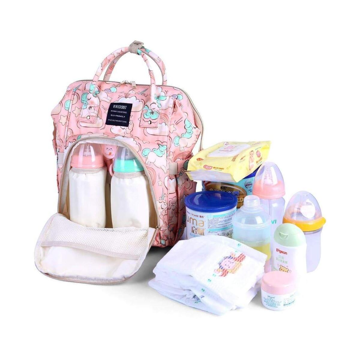 Diaper Bag Smart Organizer Waterproof Large Capacity Travel Diaper Backpack Handbag with Changing Pad