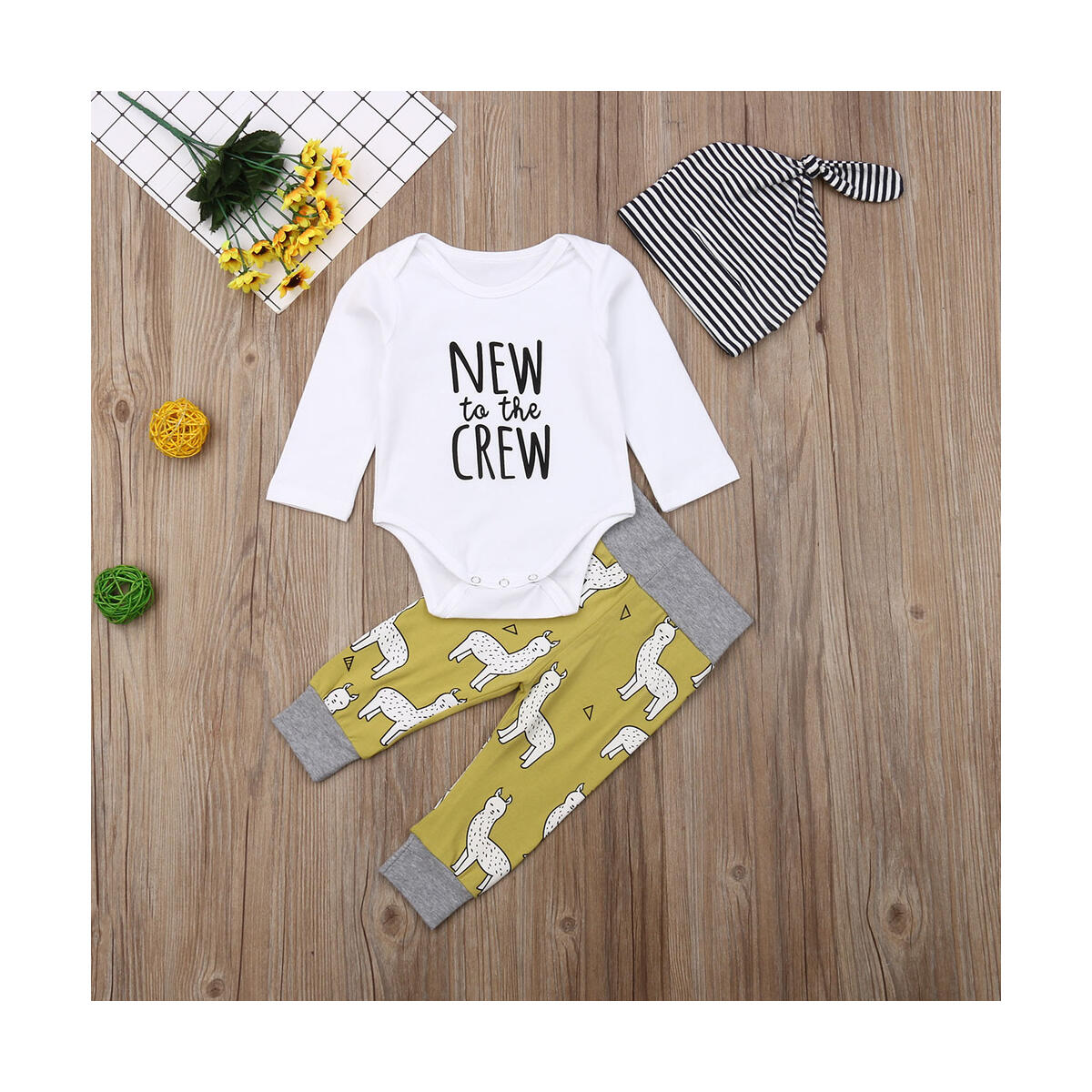 Newborn Baby Boy Girl New to the Crew Romper Pants Trousers Outfits Clothes Set