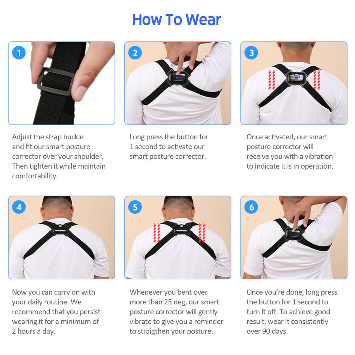 Acbex Smart Posture Corrector for Women, Men & Kids (Black) - FREE SHIPPING