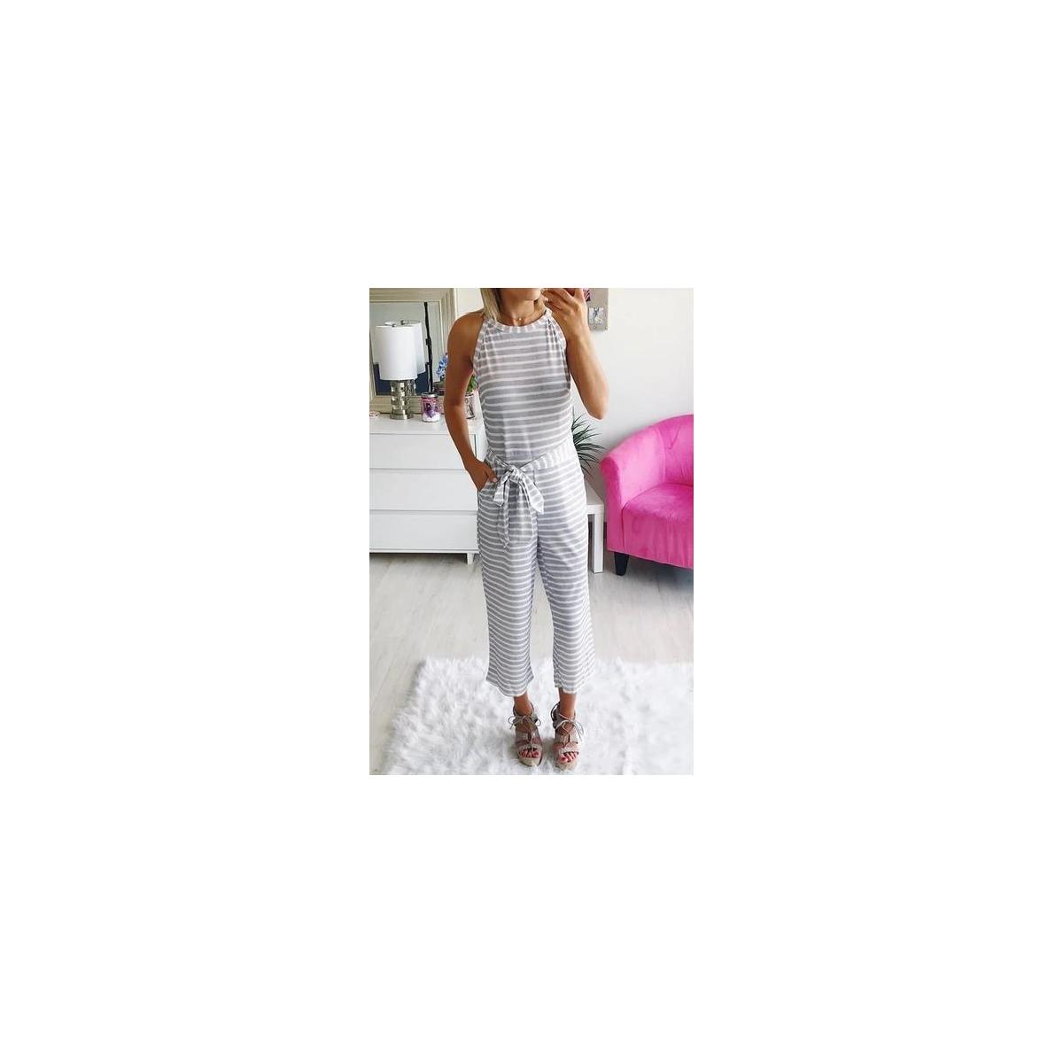 Women's Summer Jumpsuits Striped Tie Back Sleeveless Backless Wide Long Pants Rompers All Color