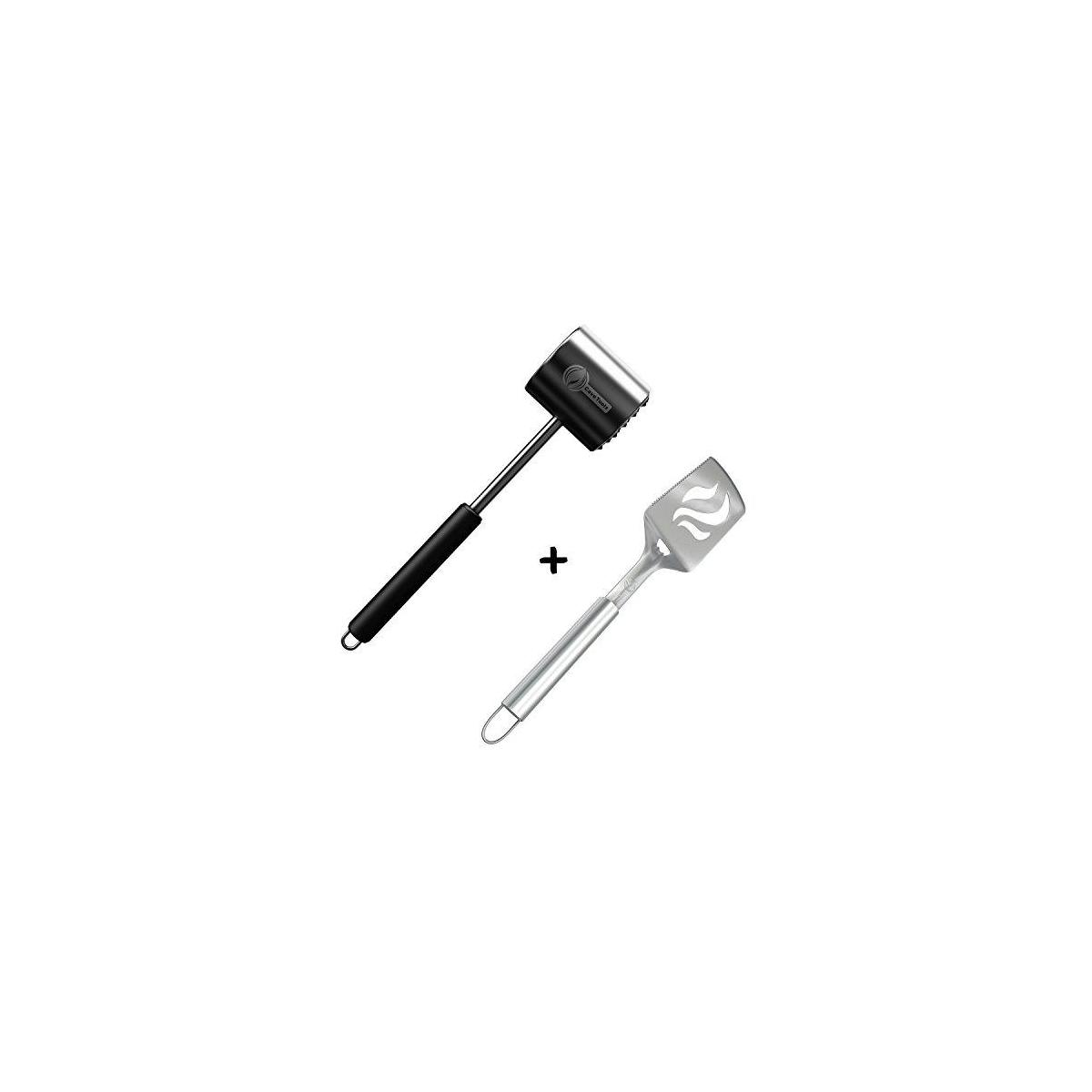 BBQ Spatula + Meat Tenderizer Mallet Tool - Dishwasher Safe Manual Hammer Pounder for Tenderizing Chicken Steak Pork & Veal - Non Slip Silicone Handle for Pounding