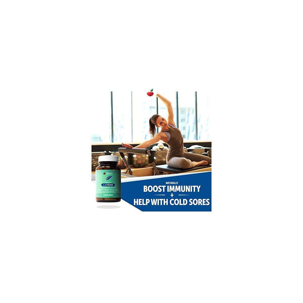 Yuve L-Lysine 500 mg Essential Amino Acid - Immune, Cold Sores & Collagen Synthesis Support - Maintain Healthy Arginine Levels & Optimal Calcium Absorption - Vegan, Gelatin-Free, Non-GMO - 50 Capsules