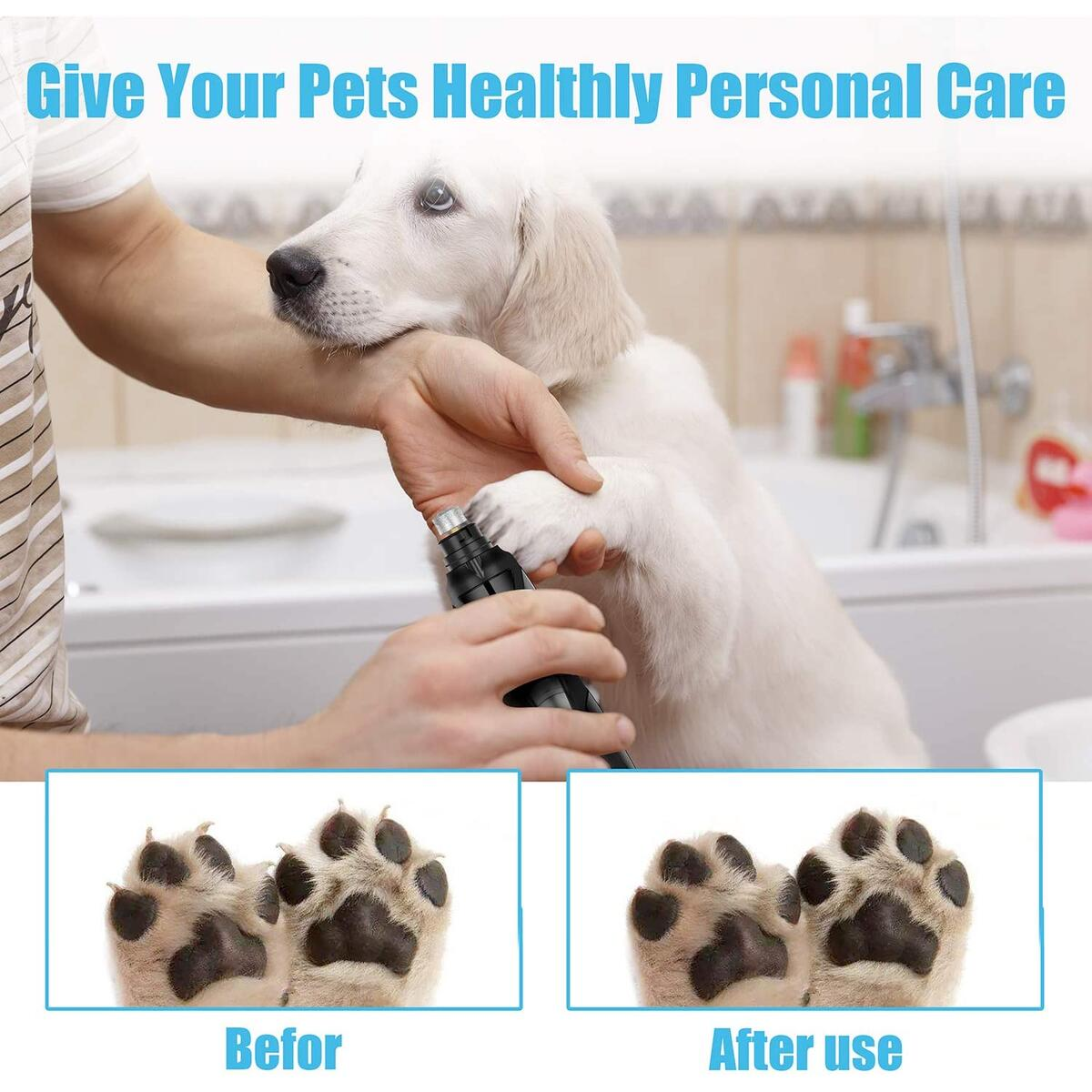 Wixann Dog Nail Grinder with Light, Upgraded ProfessionalLow Noise 2 Speed Pet Nail Grinder Electric Rechargeable Pet Nail Trimmer Painless Paws Grooming Trimming for Small Medium Large Dogs Cats