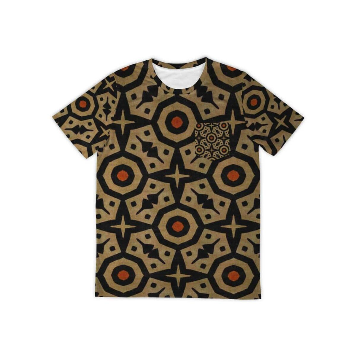 Brown Bogolan Star Circle Pocket T-shirt