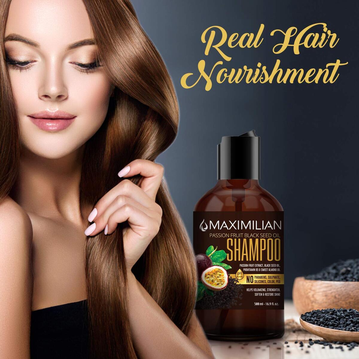 Maximilian Passion Fruit Black Seed Oil Curly Hair Shampoo and Conditioner Set- Extra Volumizing, Smoothing, Moisturizing, Soft and Shine - Sulfate Paraben Silicone Free -(2 x 16.9 Fl Oz / 500mL x 2)
