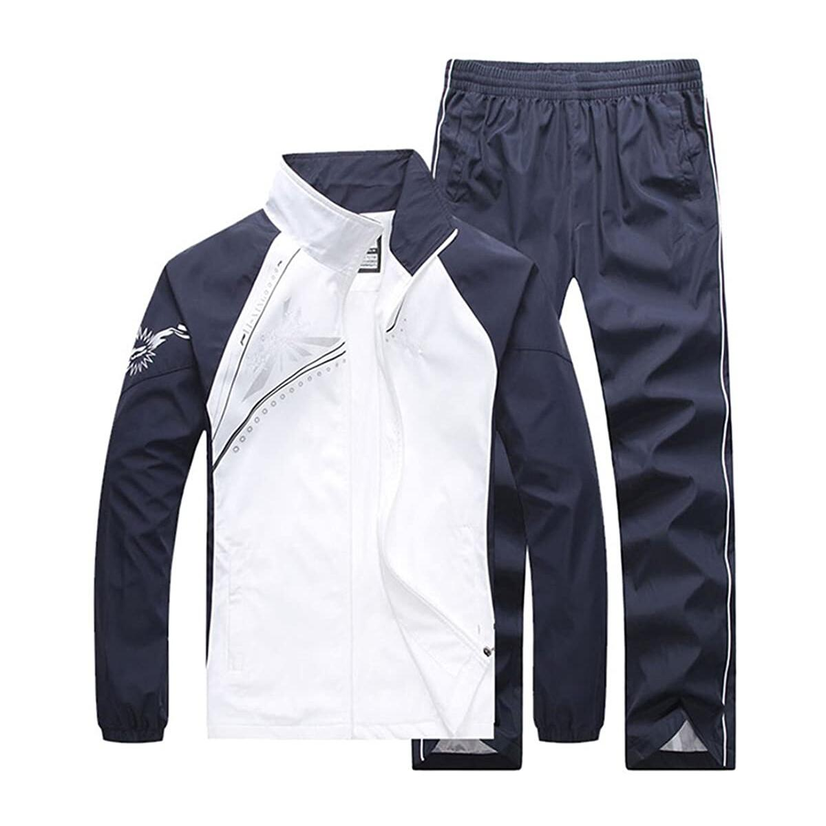 November's Chopin Men's Fitted Exercise Tracksuit Set 2 Pieces Full-Zip Casual Jogging Athletic Workout Sweat Suits