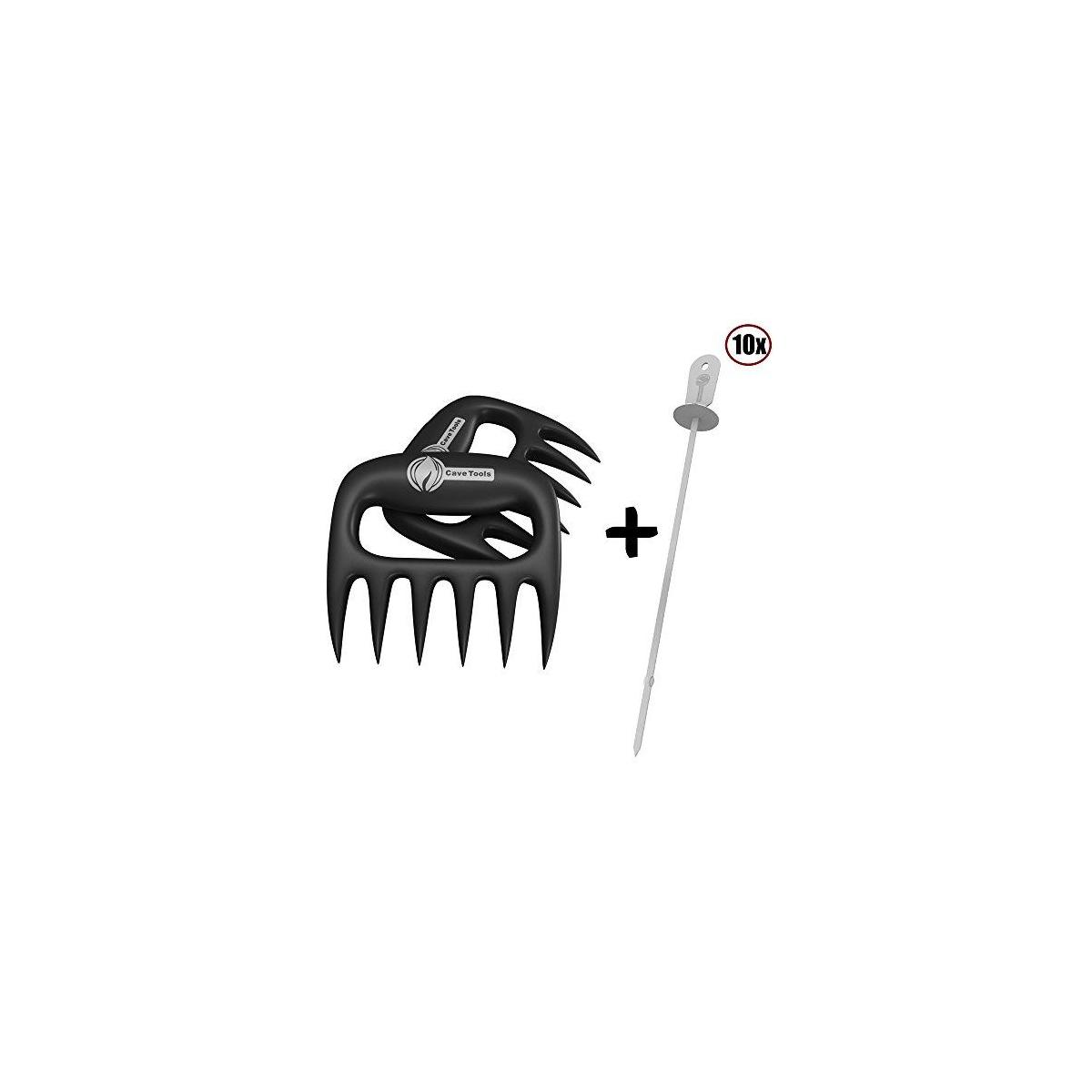 Kabob Skewers + Pulled Pork Shredder Claws - Strongest BBQ Meat Forks - Shredding Handling & Carving Food - Claw Handler Set for Pulling Brisket from Grill Smoker or Slow Cooker - Barbecue Paws