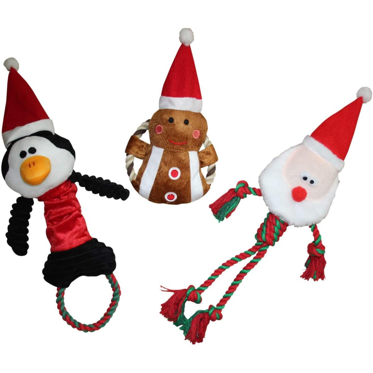 Christmas Dog Toys Trio - Plush Squeaky Dog Toys with Minimal Stuffing - 3 Pack Santa, Penguin, Gingerbread Man Gifts for Dogs