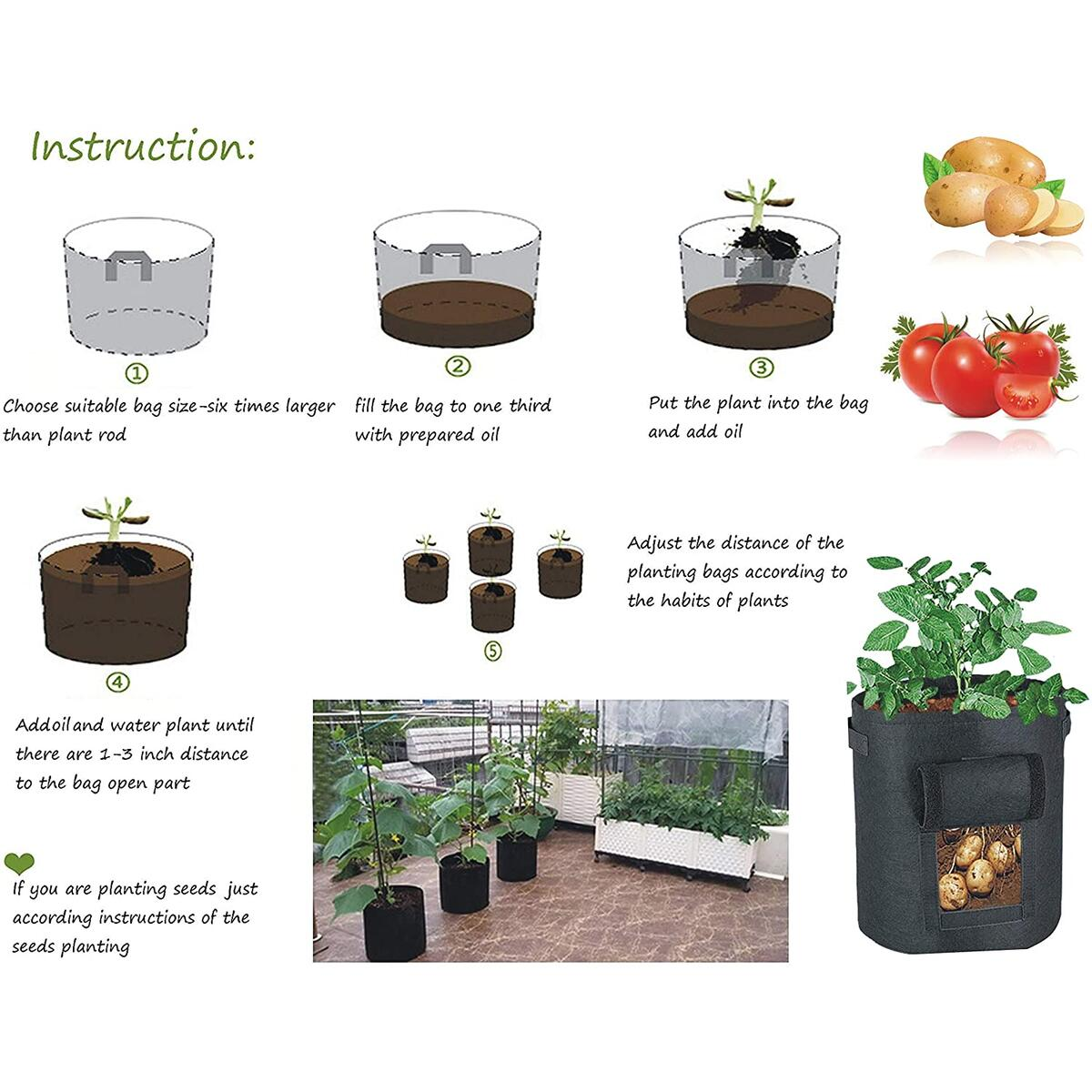 Plant Grow Bags, 3 Pack 5, 7 & 10 Gallons Garden Potato Planting Bags, Vegetables Planter, Non-Woven Aeration Fabric Pot Growing Bags with Handle and Access Flap with a Pair of Gardening Genie Gloves