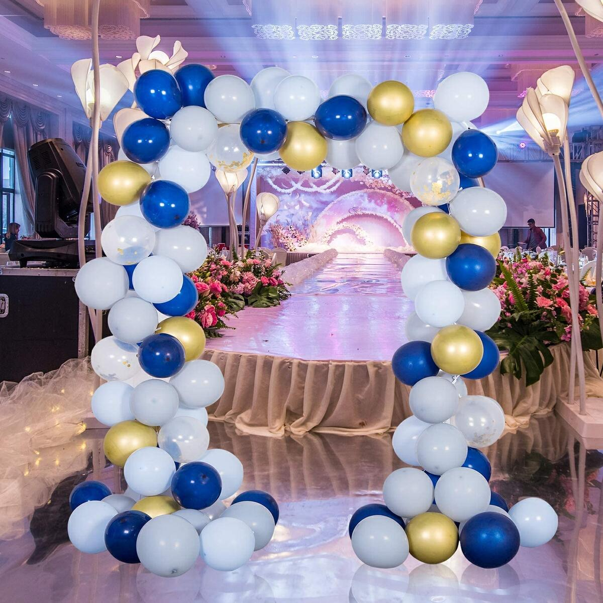 Flying Banana Navy Blue Balloon Garland Arch Kit With Pump-101pcs Latex Gold Confetti White Macaron Blue Gray And Gold Balloons For Wedding Bridal & Baby Shower Birthday,Anniversary Graduation Party