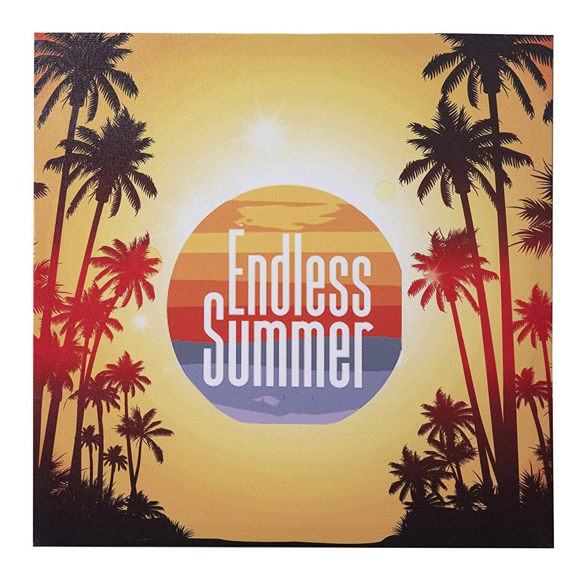 Badger Track Endless Summer written on Multi color Sun behind the Palm trees. Wall Canvas Framed Wall Art Modern Artwork for Living Room, Bedroom Decoration.