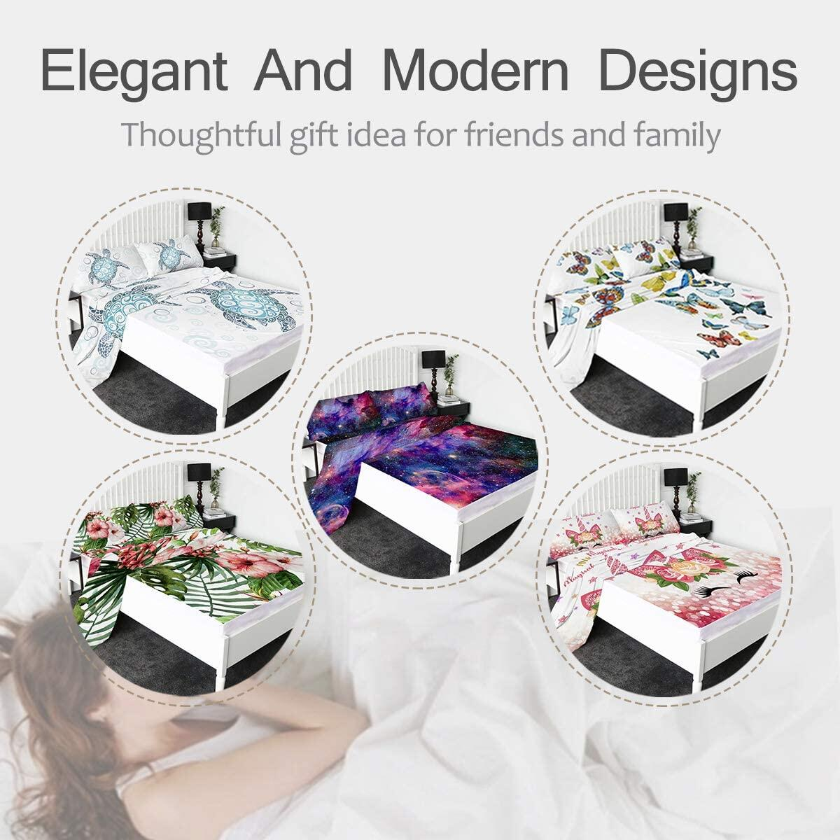 Sleepwish 4-Piece Bed Sheets 3D Printed Fitted Sheets Premium Quality 1800 Microfiber Non-Fade Breathable Soft -Includes 1 Flat Sheet,1 Fitted Sheet,2 Shams (Unicorn Floral, Twin)