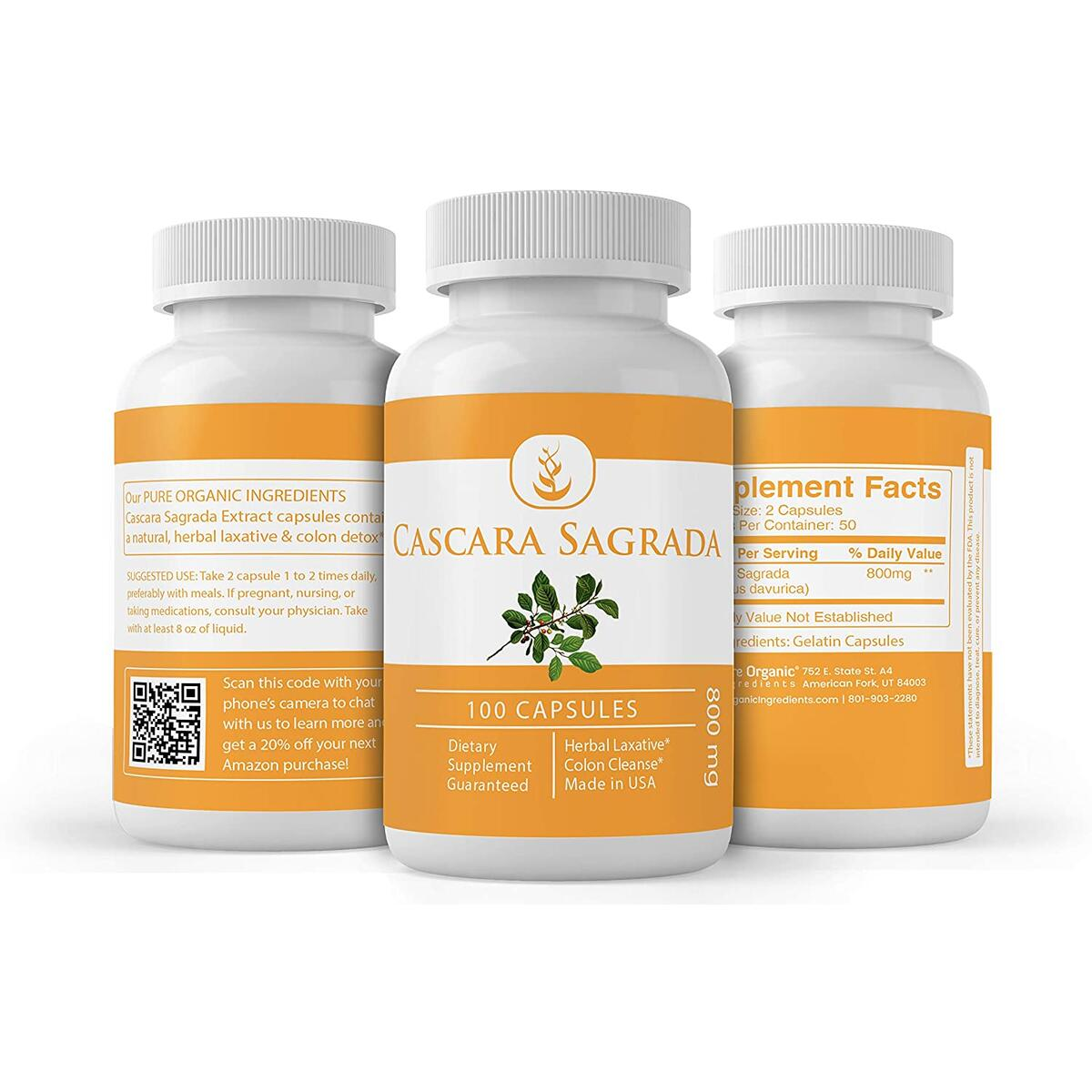 Natural Cascara Sagrada Extract, 100 Capsules, 800 mg Serving, Non-GMO & Gluten-Free, No Magnesium Stearate or Rice Filler, Lab-Tested for Purity, Made in USA