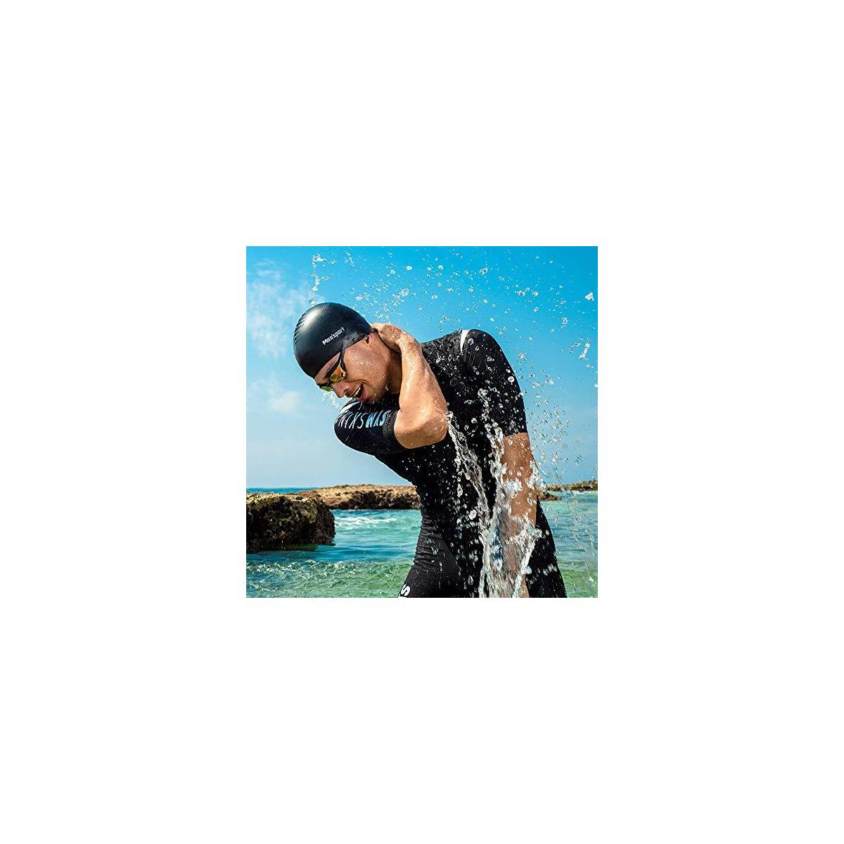 Mee'sport Swim Caps, Premium Silicone Solid Swimming Hats with Ear Protection, Comfortable Fit No-Slip Bathing Cap for Men Women - Short & Long Hair (Pack 2)
