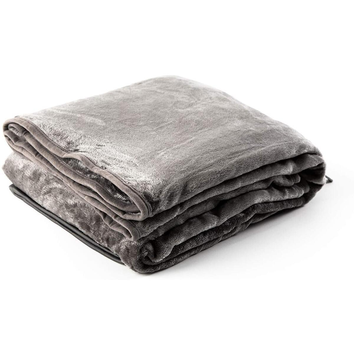 Zero Grid Extra Soft Throw Blanket – Warm, Plush Lightweight Grey Blanket Comfy for All Seasons w/Leg & Foot Pocket, Neck Snaps and Zipper Pouch