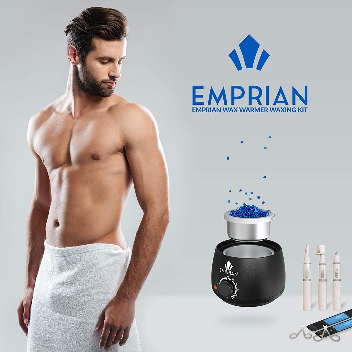 Emprian Waxing kit Wax Warmer - 200gr Blue Wax BEADS - Hair Removal Wax Pot for Women and Men - Painless Waxing for Full Body, Legs, Face, Eyebrows, Bikini and Armpit - Easy to Use Brazilian Waxing kit for Home and Salon