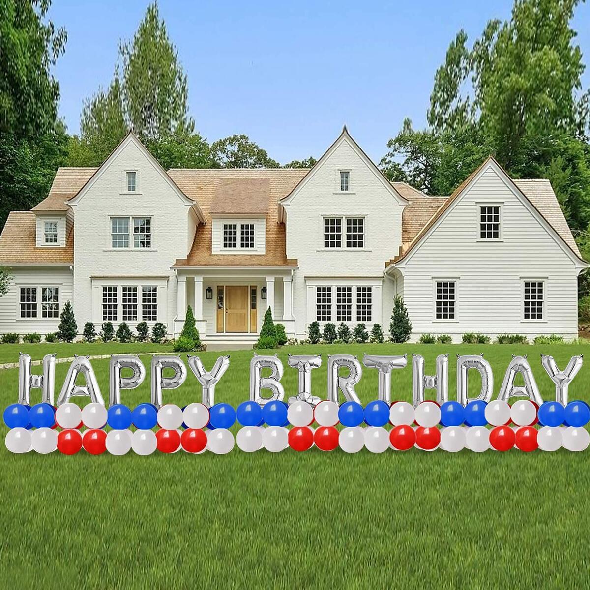 LiliviLLe happy birthday banner-224PCS Happy Birthday Balloon/Happy Birthday Yard Sign with 32inch HAPPY BIRTHDAY foil balloons for Birthday Decoration/Huge Birthday Outdoor Decoration