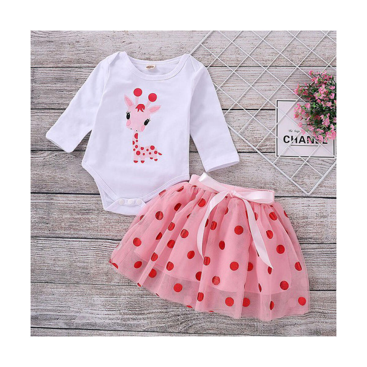Infant Baby Girls Cartoon Giraffe Tops Dot Tutu Dress Set