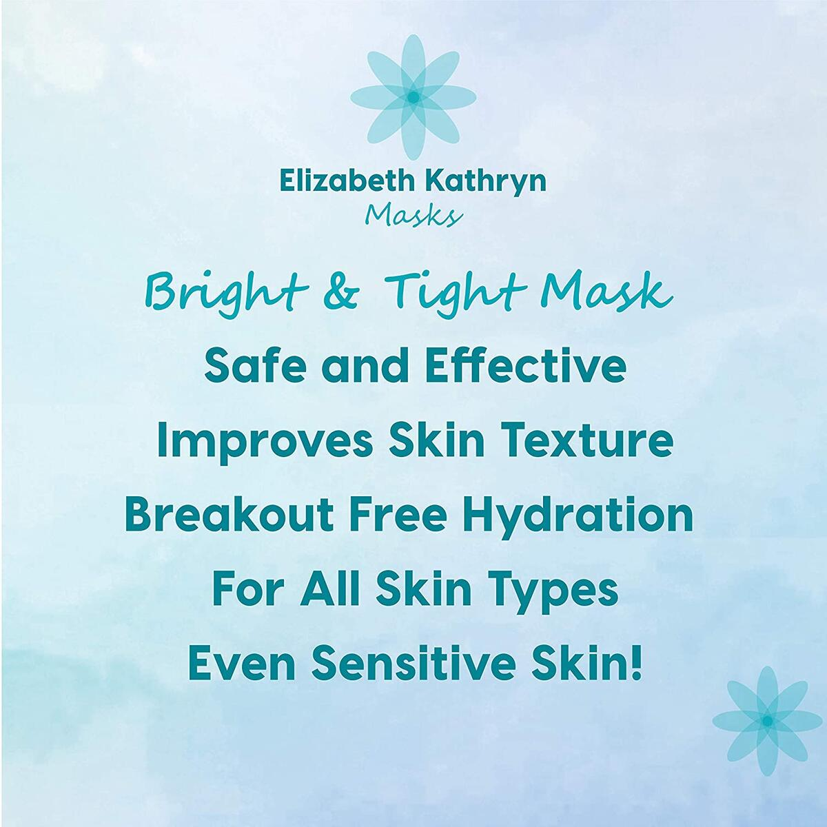 Elizabeth Kathryn Masks, Premium Natural Korean Full Face Facial Sheet Masks, Vitamin C Serum and Hydrating Hyaluronic Acid Infused, Brightening and Tightening Anti-Aging for All Skin Types, 5 Pack