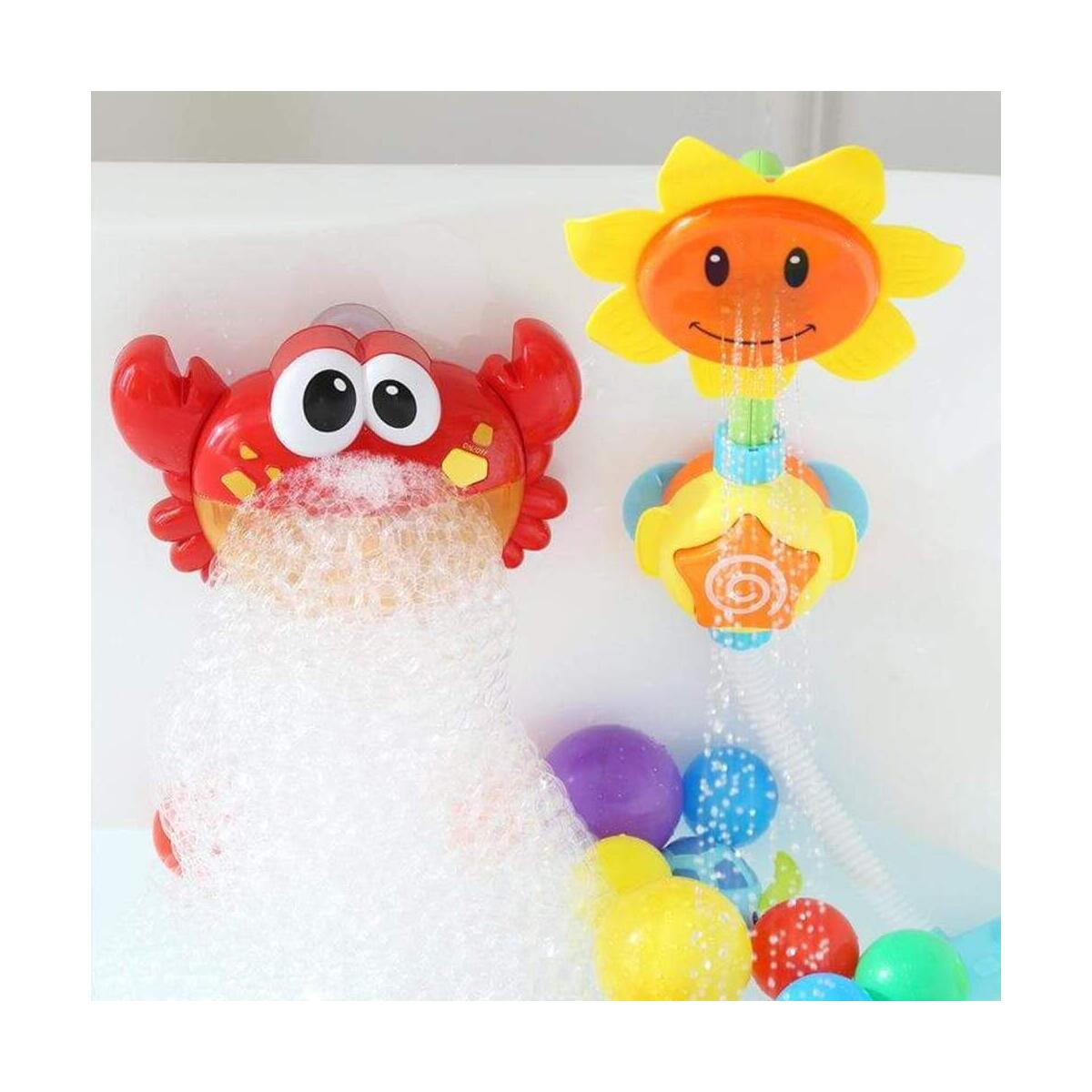 Red Plastic Crab Bubble Nursery Rhymes Machine Bubble Maker Baby Bath Toy