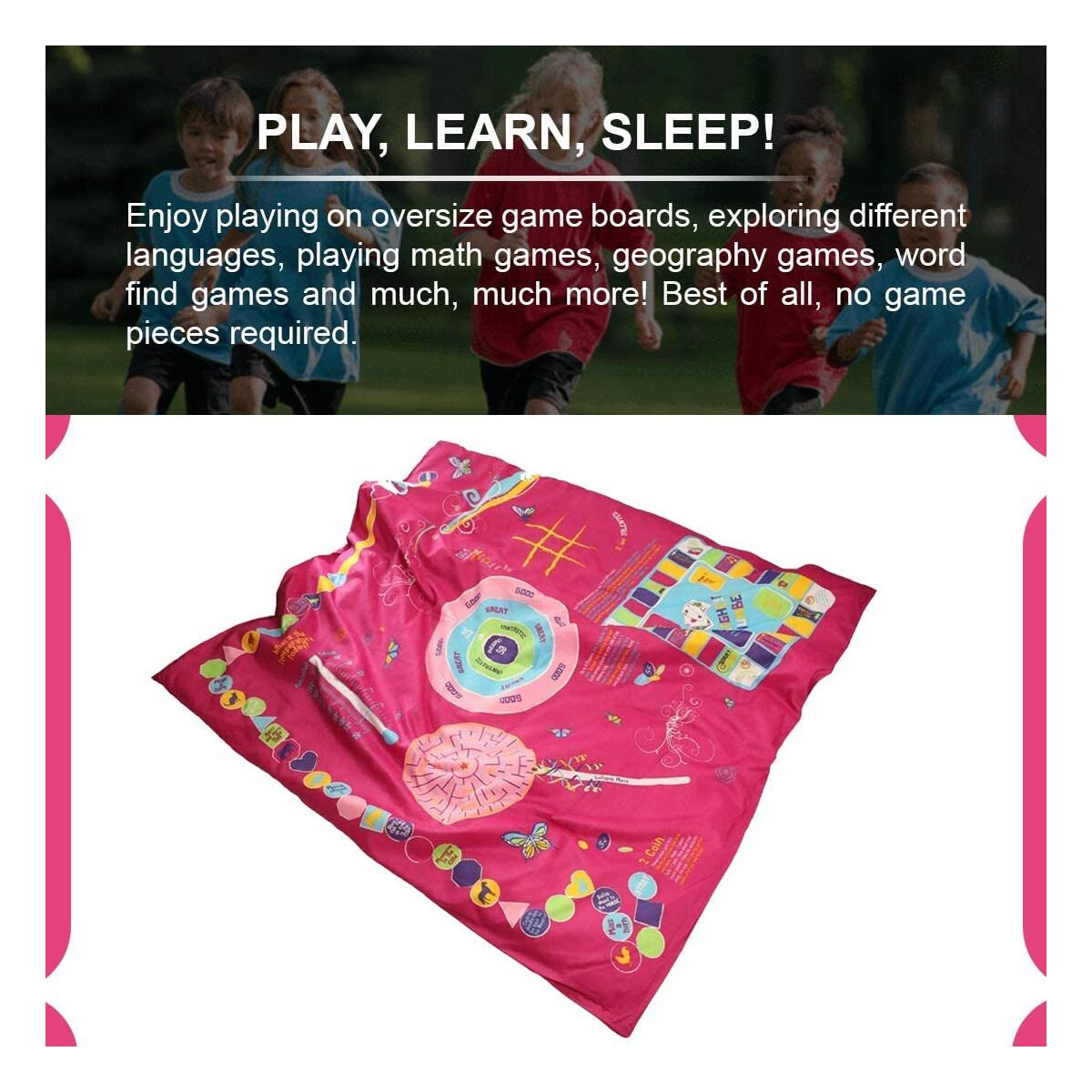 """Playtime Reversible 3in1 Slumber Bag with Over 25 Fun and Educational Games & Puzzles. Pink Soft Microfiber Kids Sleeping Bag for Girls up to 5'10"""""""