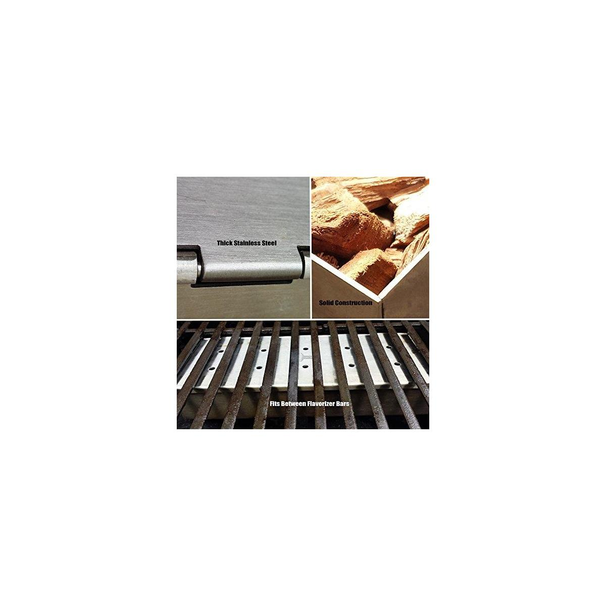 Grill Tools Set + Smoker Box for BBQ Grill Wood Chip - 25% Thicker Stainless Steel Won't Warp - Charcoal & Gas Barbecue Meat Smoking with Hinged Lid - Best Grilling Accessories Gift for Dad