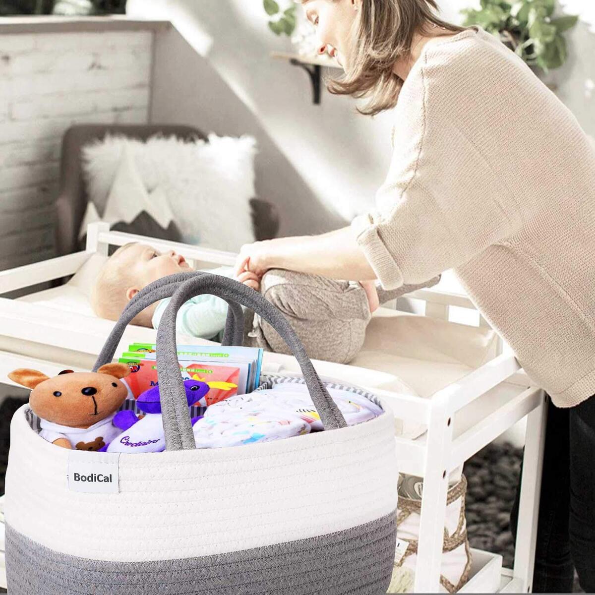Baby Diaper Caddy Organizer - 100% Cotton Rope Nursery Diaper Storage Basket Diaper Storage Bin for Diaper Wipes Toys Nursery Essentials Baby Shower Gift and Newborn Registry (14.2