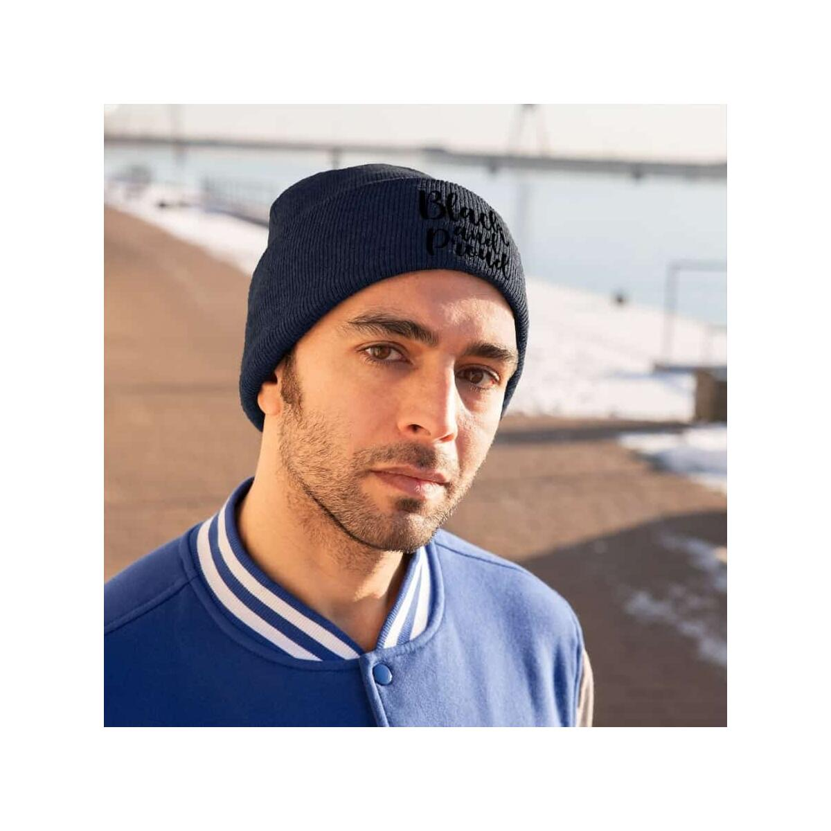 Afrocentric BLACK AND PROUD Knit Beanie, True Navy / One size