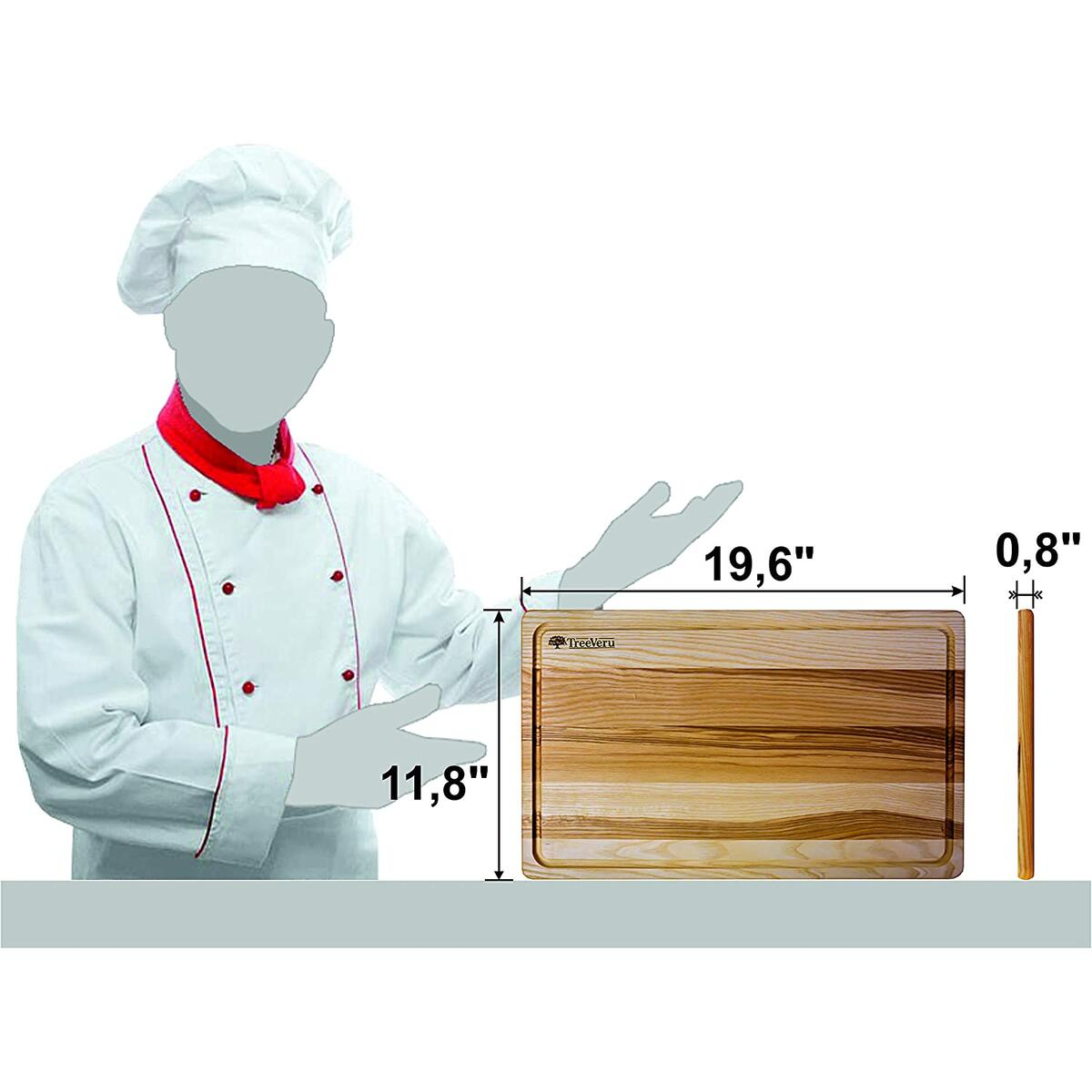 TreeVeru Large Wooden Cutting Board for Kitchen – 19.6х13.7х0.8 Inch Chopping Block Cutting Board with Juice Groove, Ash Butcher Block, Premium Wooden Carving Board for Meat, Cheese, Vegetables