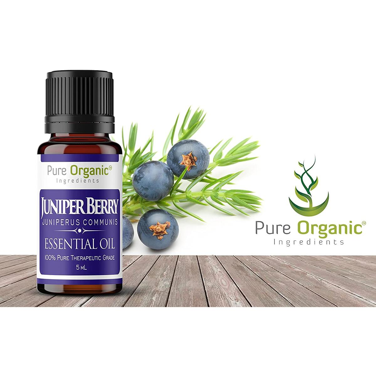Pure Organic Ingredients Juniper Berry Essential Oil (5 ml), Convenient Dropper Cap Bottle, Promotes Healthy Kidney & Urinary Tract Function, Detox, Reduces Skin Blemishes, Fresh Aroma with a Hint