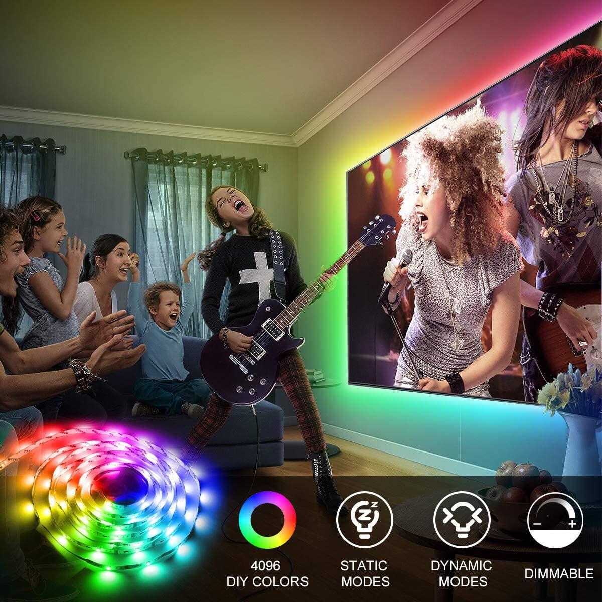 TV LED Backlight 6.56ft-13ft 5050 RGB LED Strip Lights with Remote for 32-70in TV 5V USD LED Tape Light 4096 Colors Changing LED Light Strip for Monitor Theater Home Bedroom Desk Ambient Light