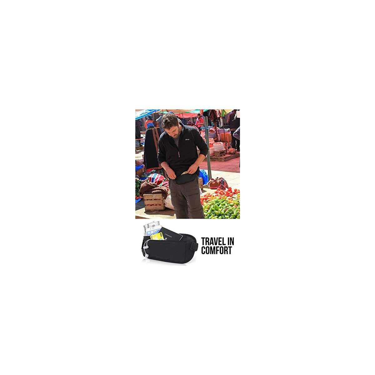 Money Belt for Travel, by Gama - RFID Blocking Fanny Pack, Hidden Passport Holder for Men Women - Keep Slim & Under Clothes to Prevent Pick Pocketers - Black Wallet fit Money, Credit Cards, Phone