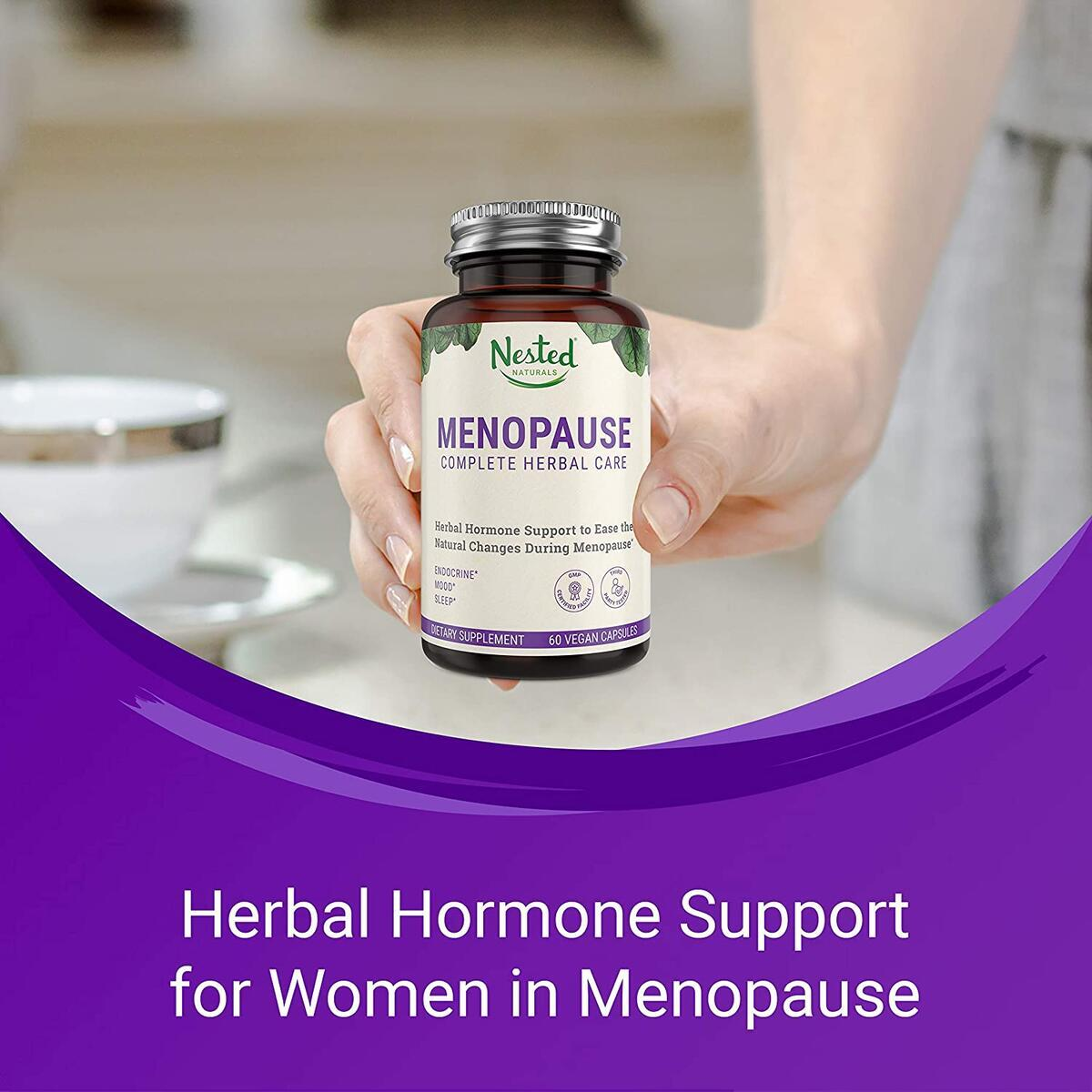 Nested Naturals Menopause Complete Herbal Care Supplement for Women | Support for Mood Swings & Hot Flashes | One A Day Menopause Relief