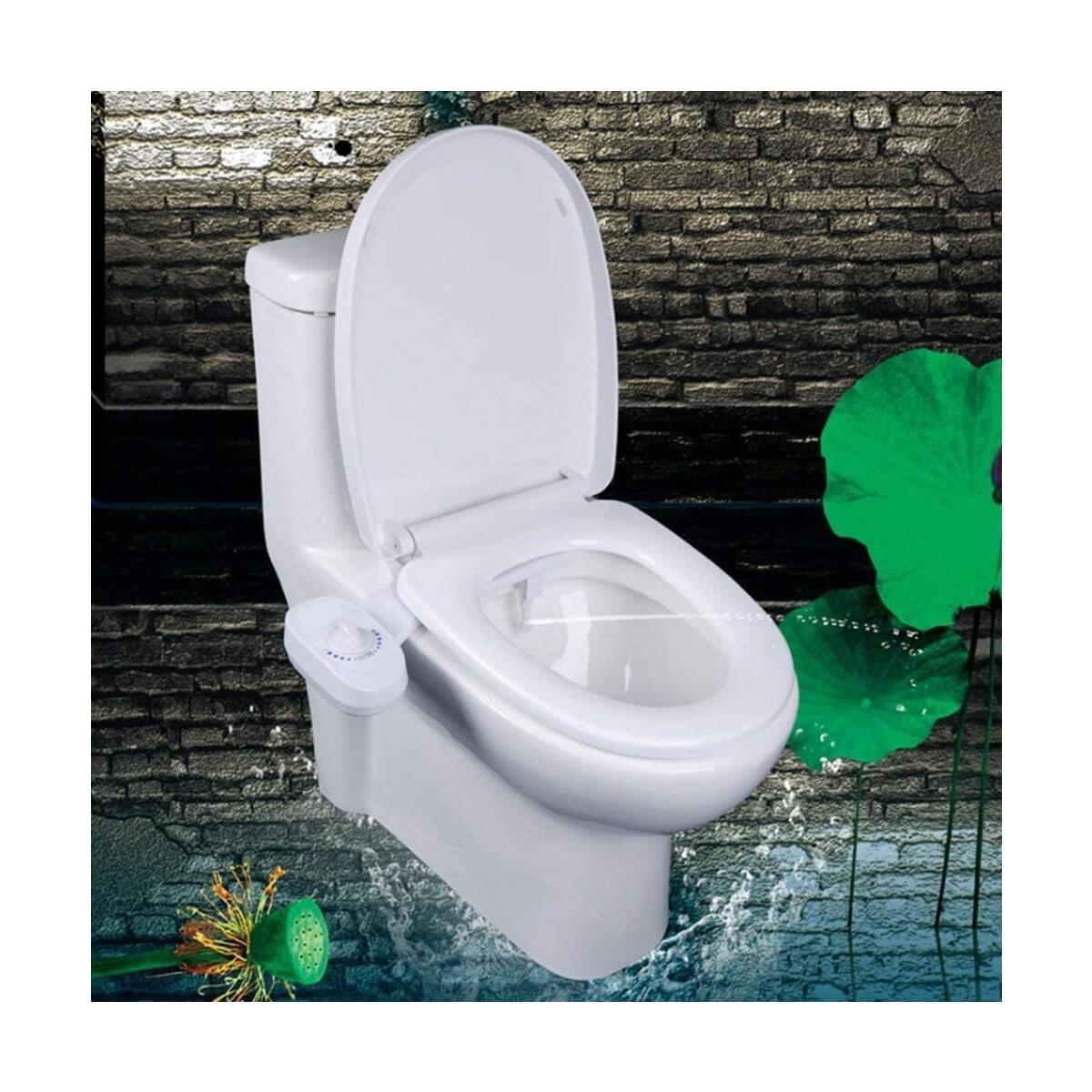 ROHSCE Self Cleaning Nozzle Fresh Water Non-Electric Bidet Cold Water Bidet, Nozzle Portable Bidet Attachment, White