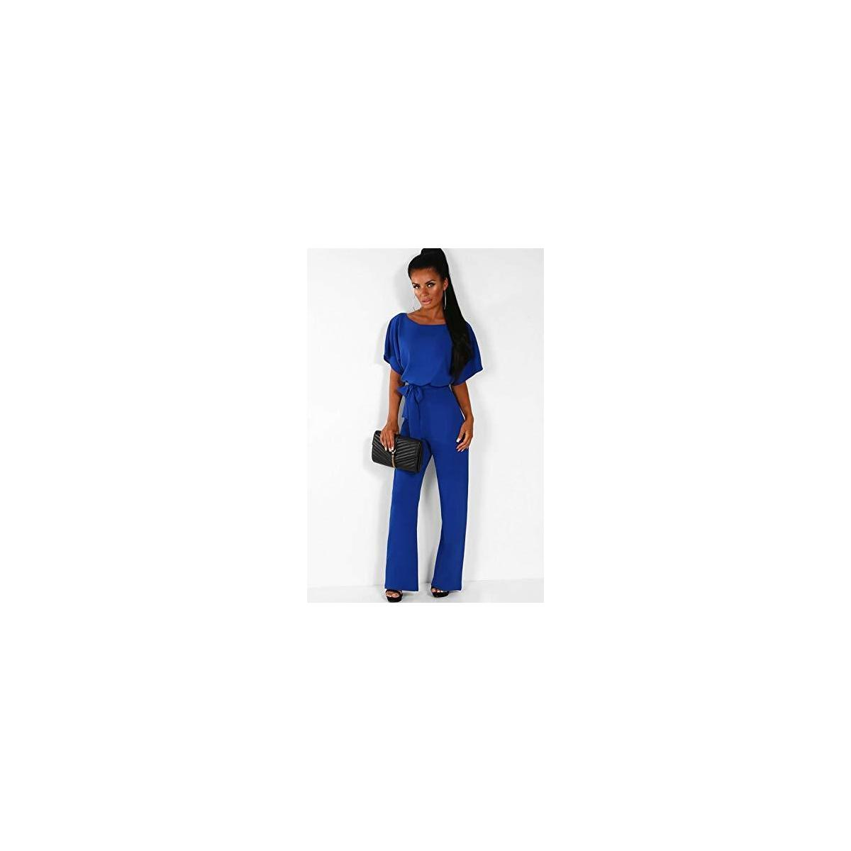 Women's Summer Short Sleeves Elegant Playsuit Wide Leg Jumpsuit Romper Belted
