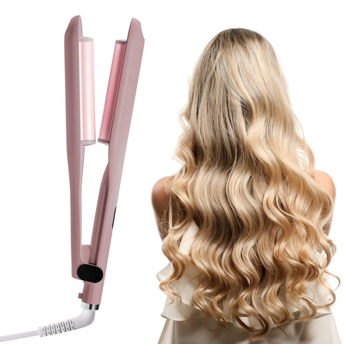 1 Inch Curling Iron 2 Barrel Beach Waves Curling Iron with LCD Temperature Display 360°F-410°F Ceramic Tourmaline Dual Voltage Professional Beachwaver Curling Wand (Pink)