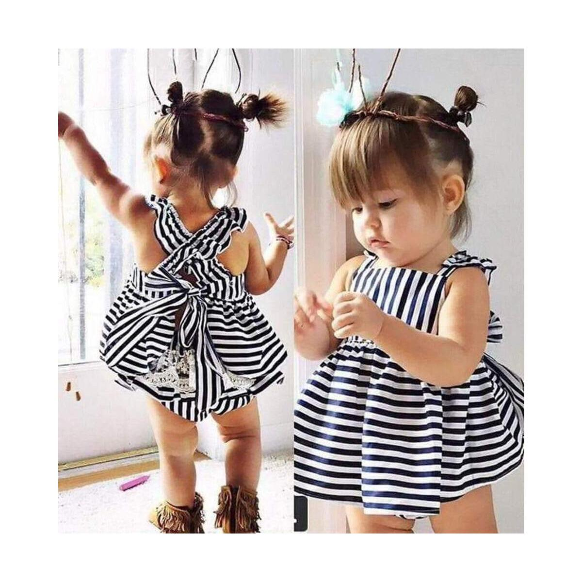 Baby Girls Clothes Summer Infant Outfit Stripe Bowknot Backless Dress Brief set