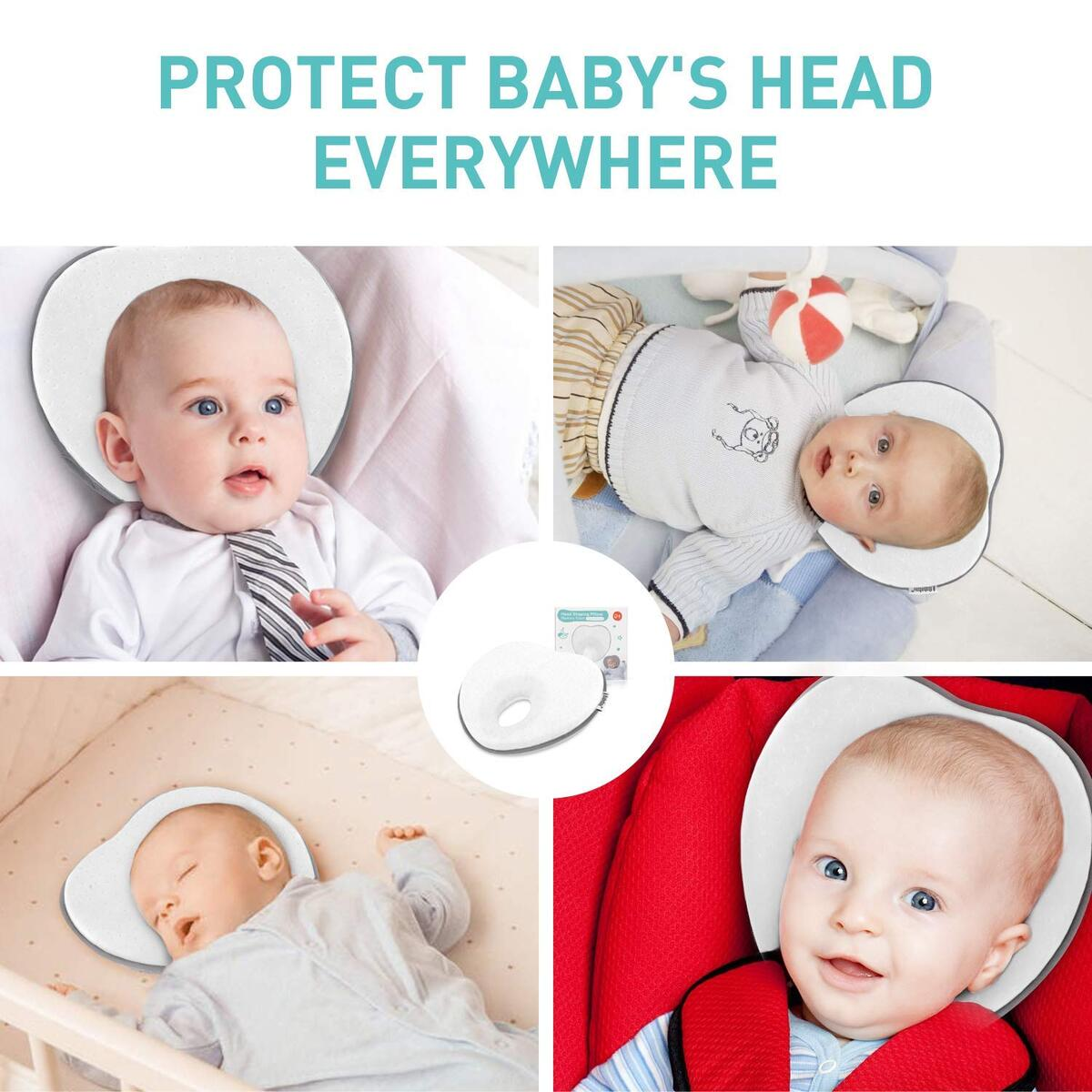 Baby Pillow for Newborn Infant,Flat Head Prevent 3D Memory Foam with Pillowcase Can Support Head & Neck Pillow,Head Shaping Pillow,Heart Shaped 0-12months(White)…