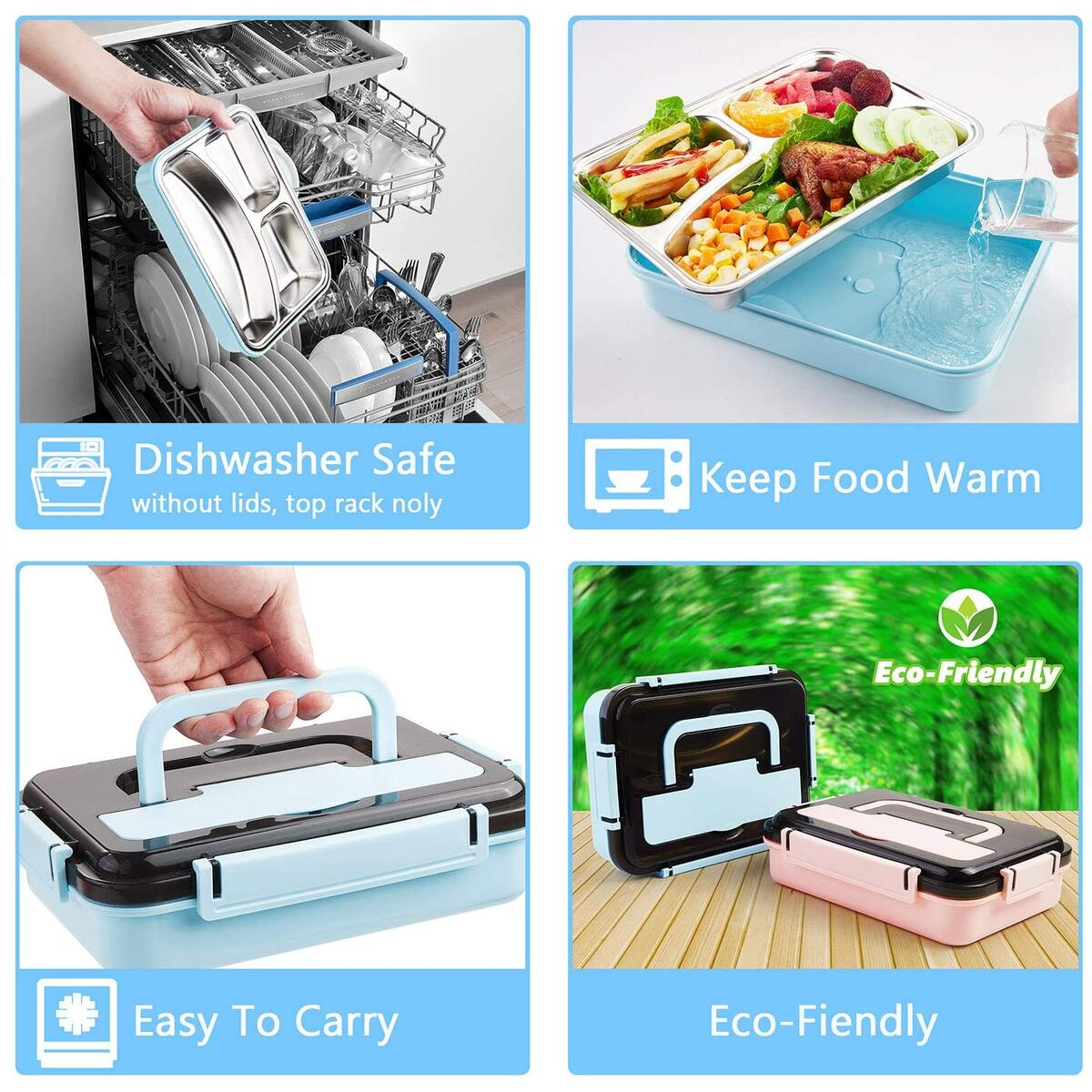 Stainless Steel Bento Lunch Box   Metal Lunch Container for Adults   3 Compartments Portable Food Container with Utensil (Blue)