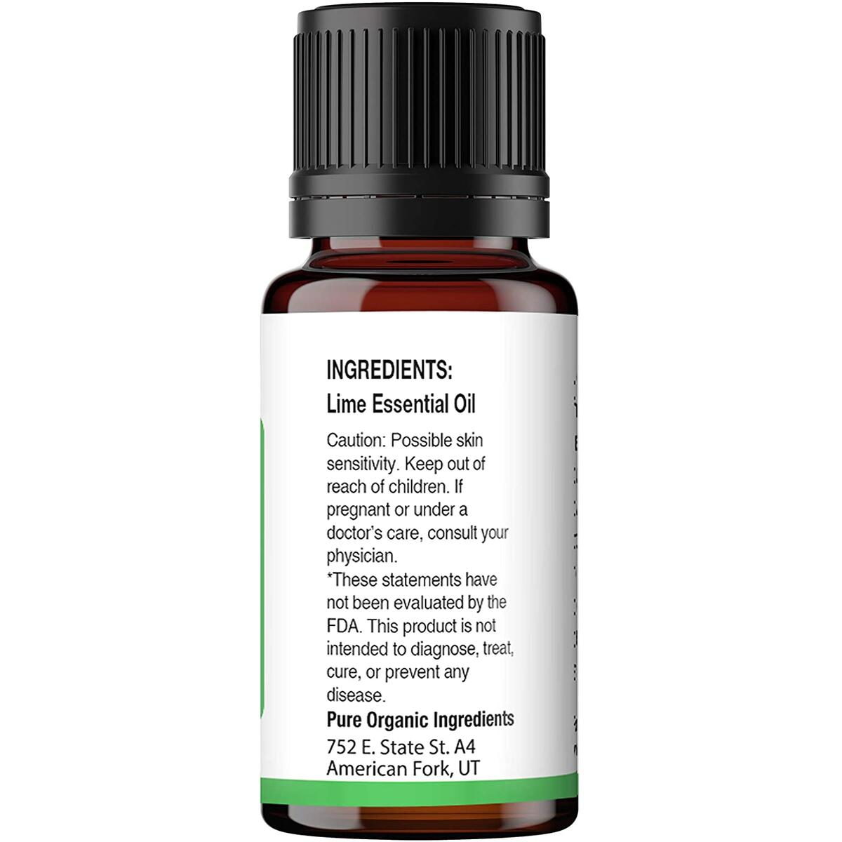 Pure Organic Ingredients Lime Essential Oil (15 ml), Convenient Dropper Cap Bottle, Food Safe, All-Natural, No Fillers, Refreshing & Energizing Aroma