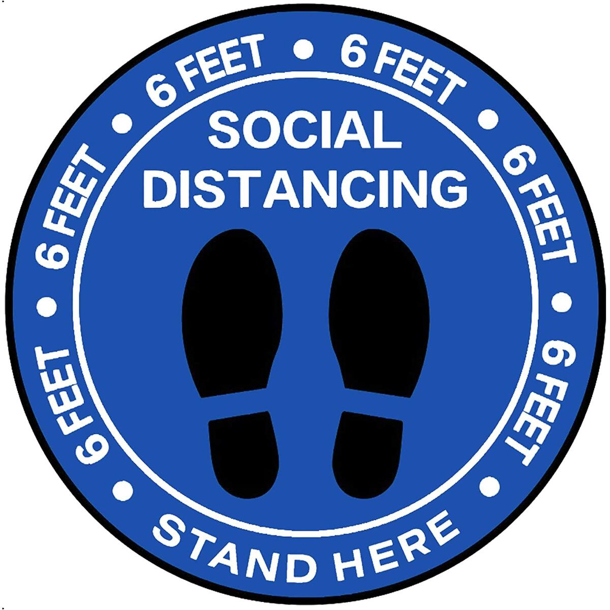 Social Distancing Floor Stickers, 8 Inch Waterproof Safe Distancing Decals, Tear-Resistant Vinyl Crowd Control Signs, Floor Markers for School, Supermarket, Store, Business, Work, Church - Pack of 30
