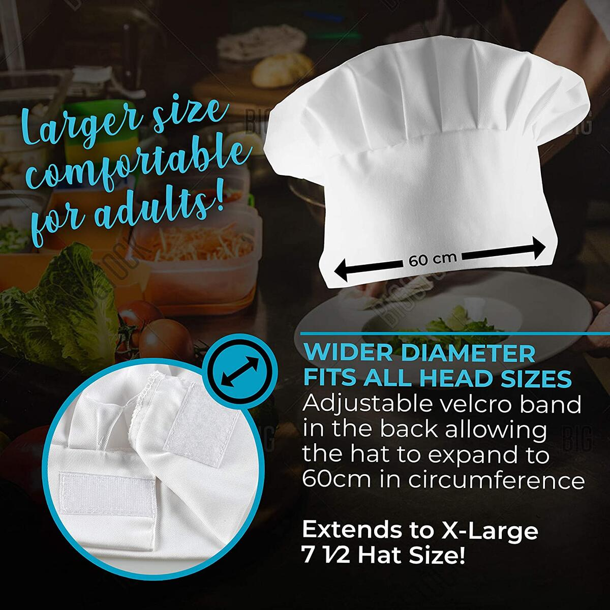 Extra Large Adult White Chef Toque Hat with Larger Diameter - Adjustable Fastening Band to Fit All Head Sizes - Professional Reusable for Men or Women