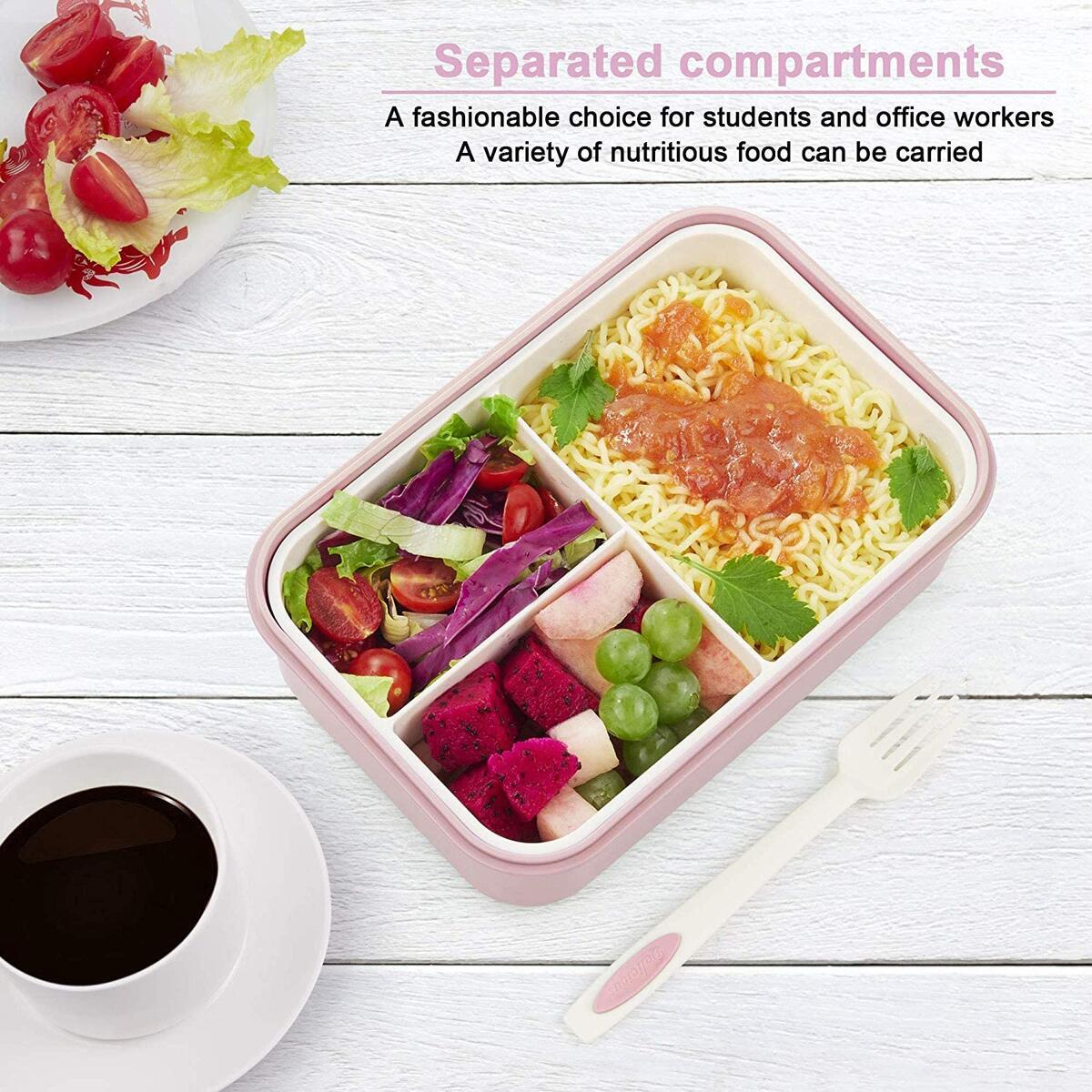 2 PACK Bento Lunch Containers For Kids & Adults, Lunch Box Container with Spoon & Fork,Reusable 3-Compartment Divided Food Storage Container Boxes, On-the-Go Meal and Snack Packing(Green+Red)