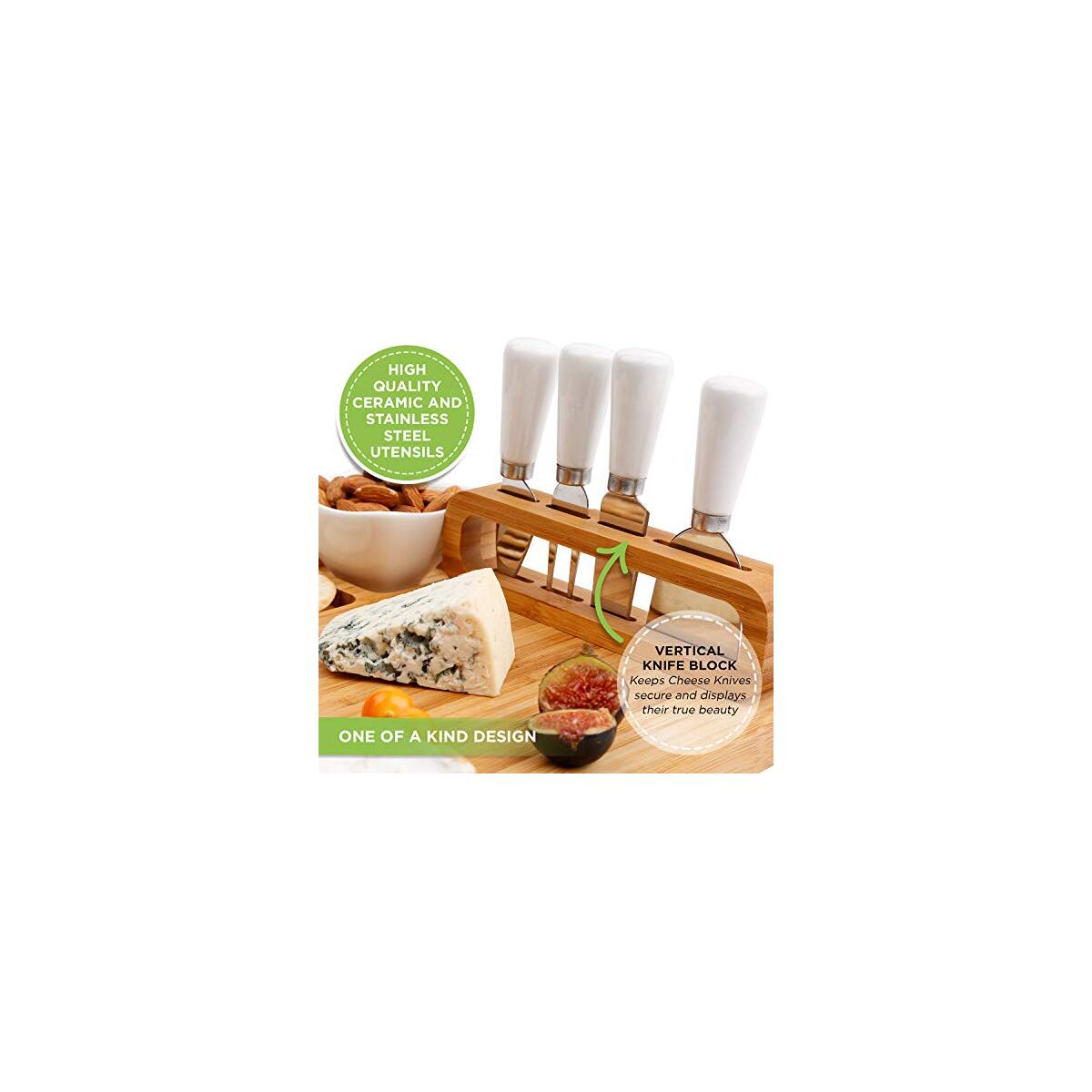Bamboo Cheese Board and Knife Set, Charcuterie Board Set Large (14 x 11 inch) includes Ceramic Bowl, Serving Forks, Cheese Knives, Ideal Wedding Gift, Housewarming, Anniversary, Birthday (The Padrona)